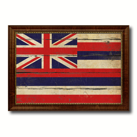 Hawaii State Vintage Flag Canvas Print with Brown Picture Frame Home Decor Man Cave Wall Art Collectible Decoration Artwork Gifts
