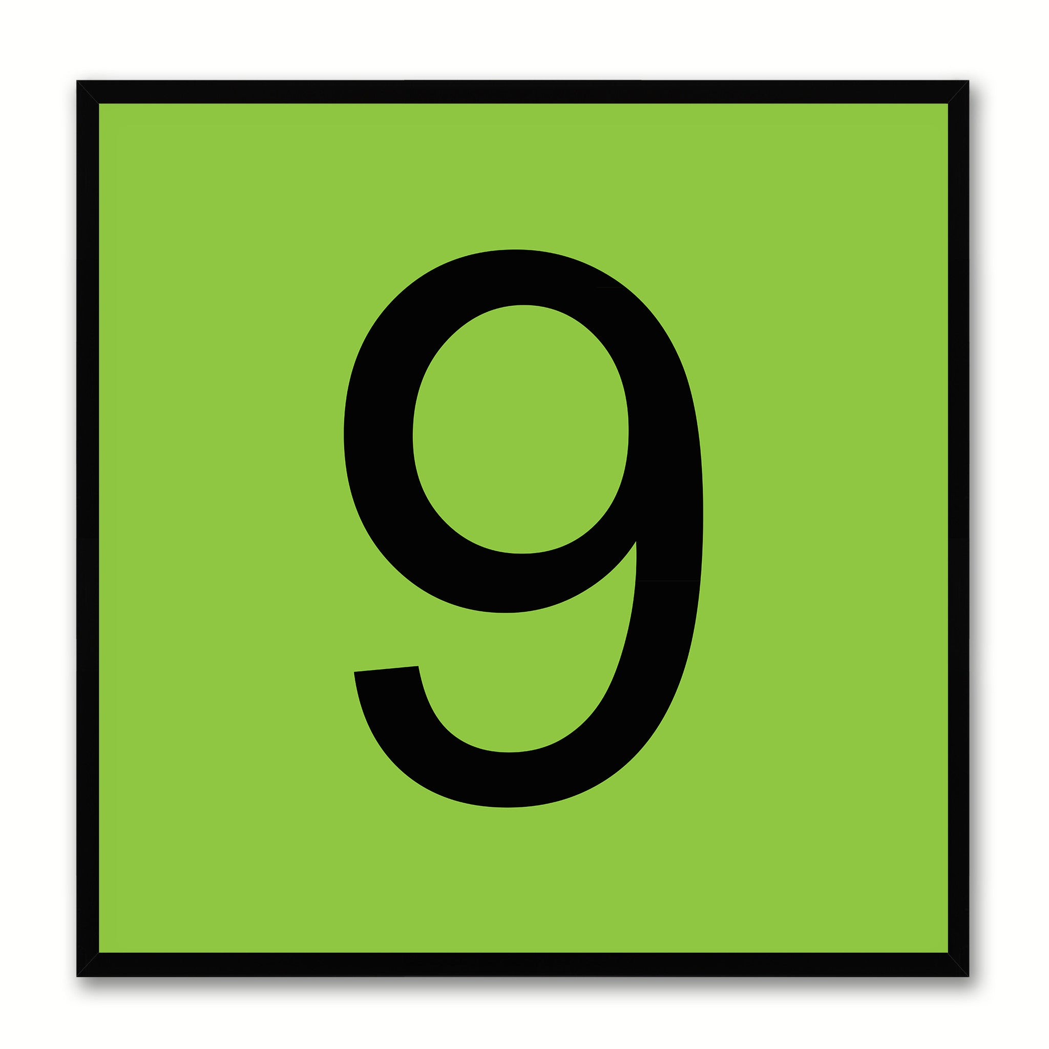 Number 9 Green Canvas Print Black Frame Kids Bedroom Wall Décor Home Art