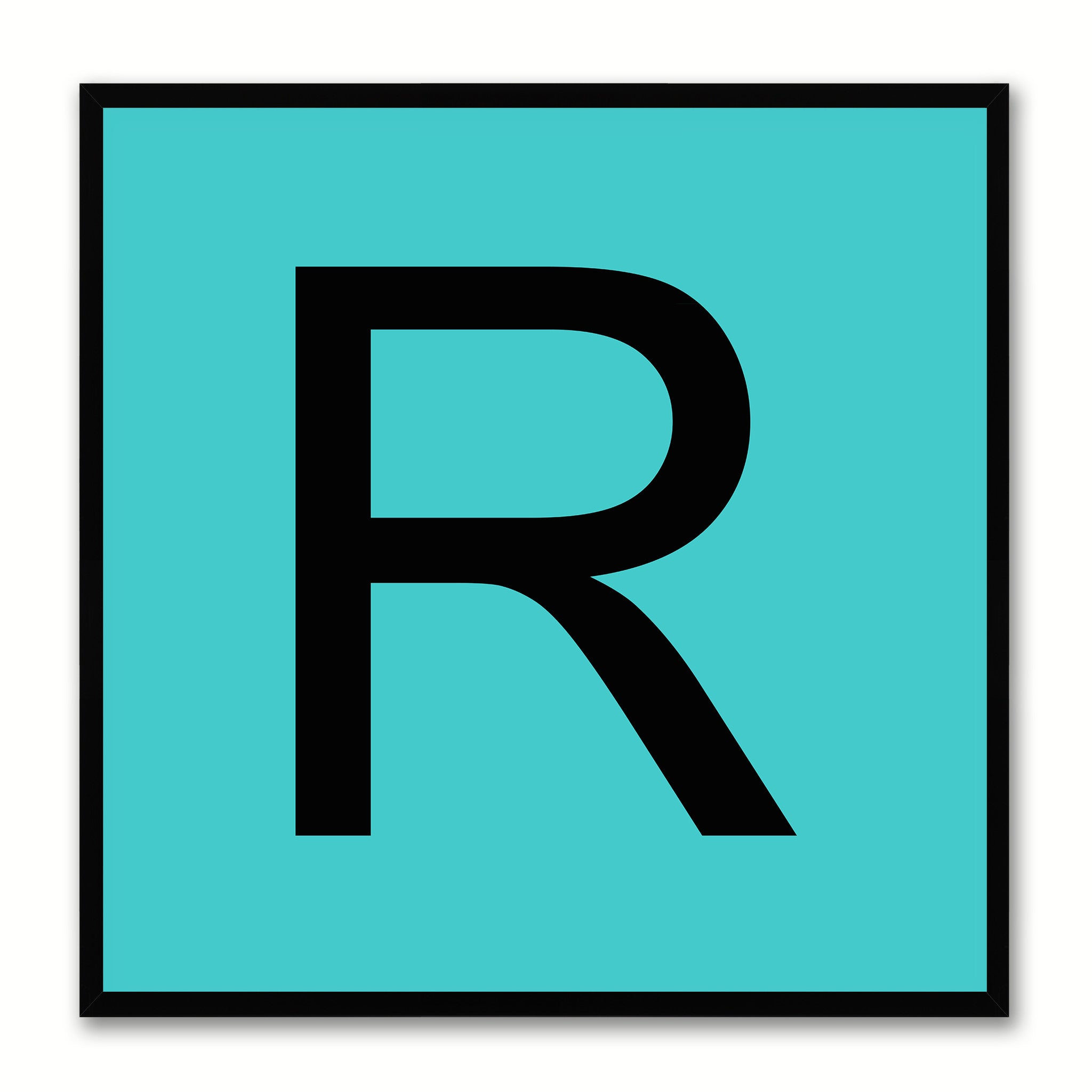 Alphabet R Aqua Canvas Print Black Frame Kids Bedroom Wall Décor Home Art