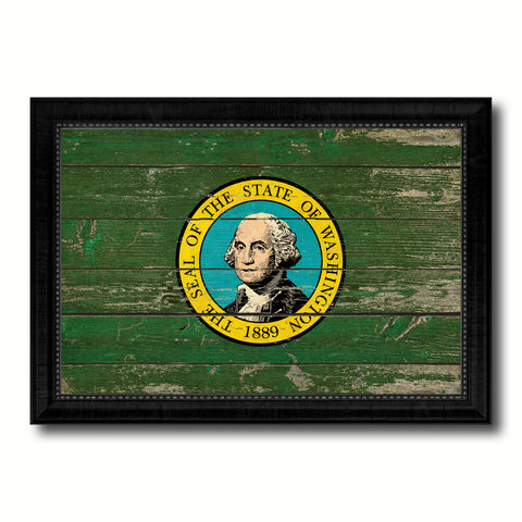 Washington State Vintage Flag Canvas Print with Black Picture Frame Home Decor Man Cave Wall Art Collectible Decoration Artwork Gifts