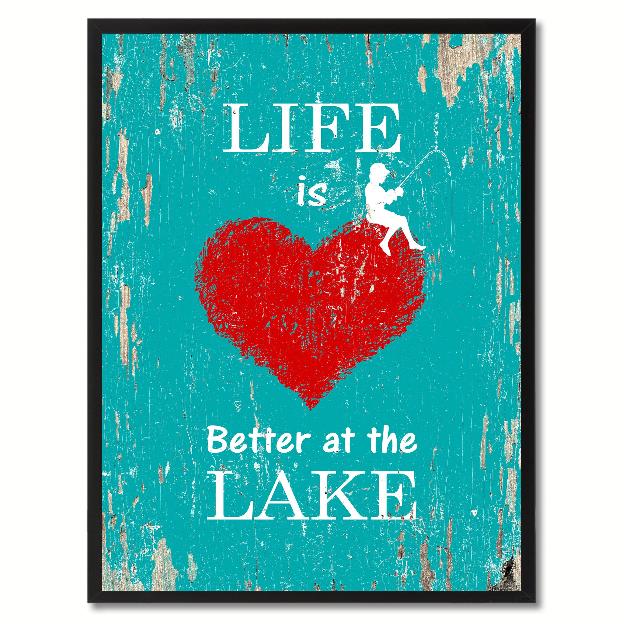 Life Is Better At The Lake Saying Canvas Print, Black Picture Frame Home Decor Wall Art Gifts