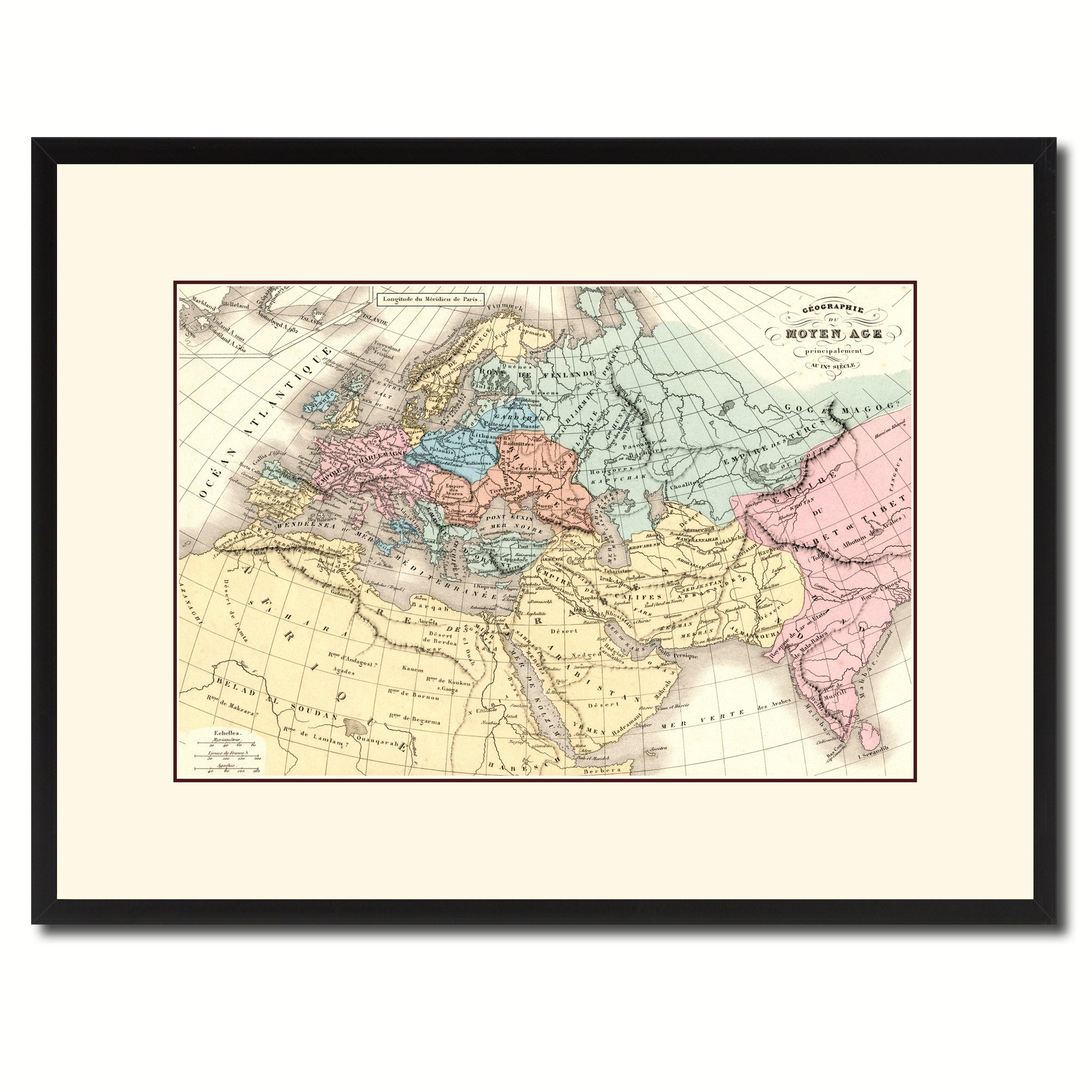 Europe In The Middle Ages Crusades Vintage Antique Map