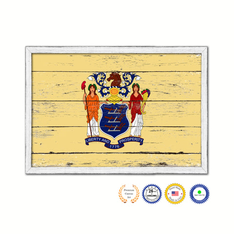 New Jersey State Flag Shabby Chic Gifts Home Decor Wall Art Canvas Print, White Wash Wood Frame