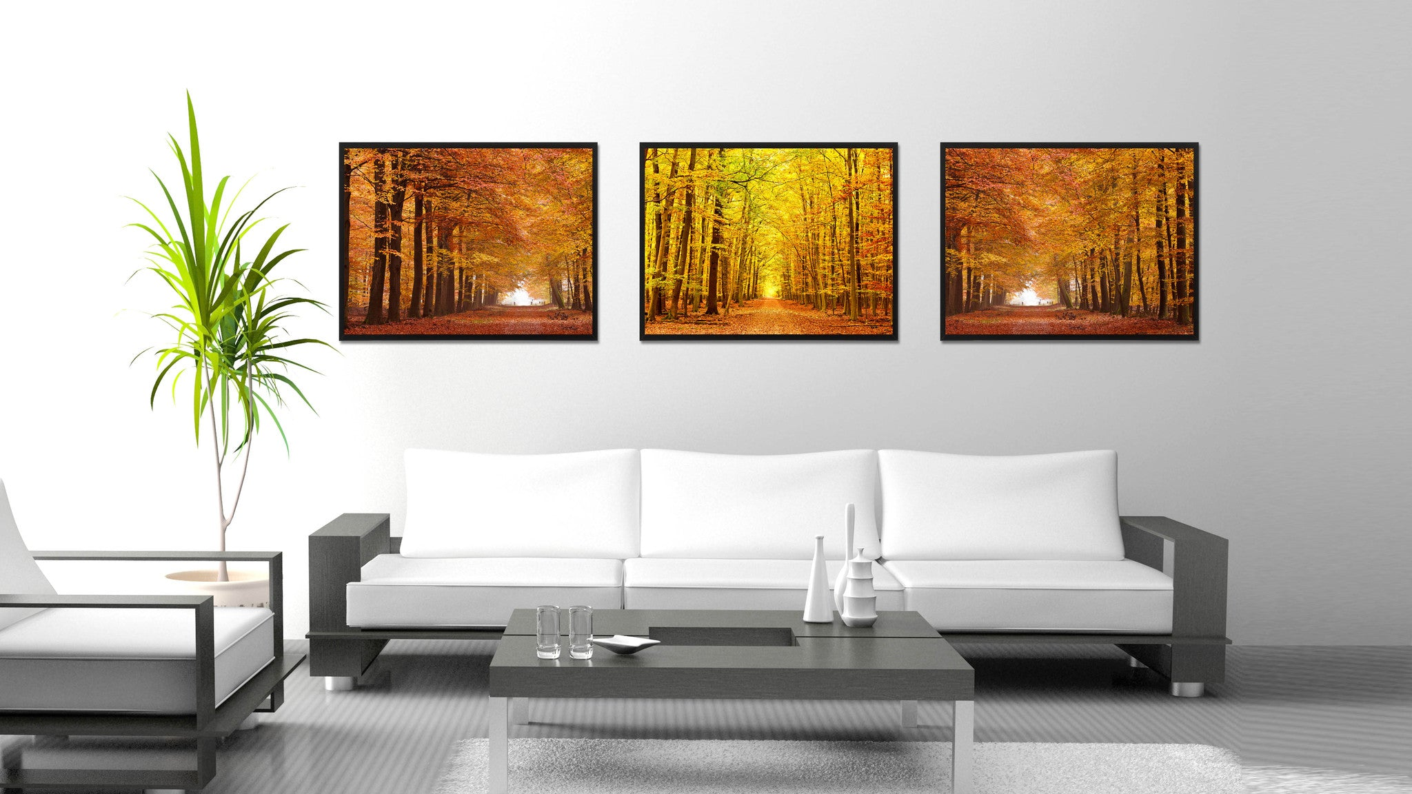 Autumn Road Yellow Landscape Photo Canvas Print Pictures Frames Home Décor Wall Art Gifts