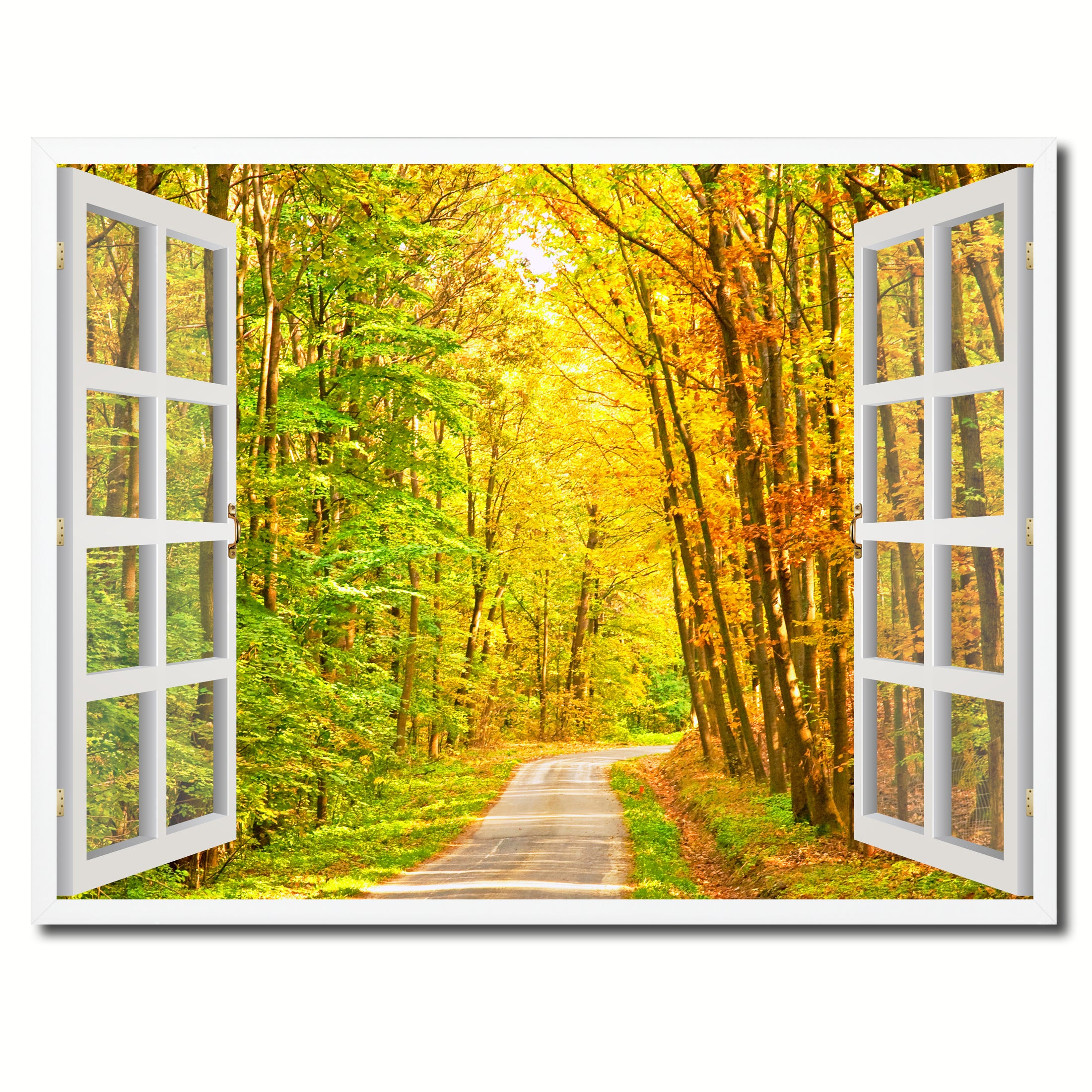 Pathway Autumn Park Fall Forest Picture Window Wall Art Home Decor ...