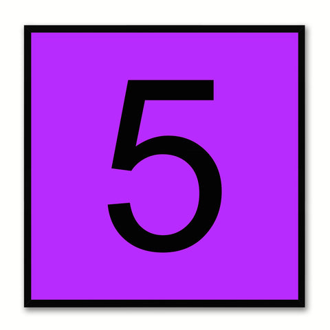 Number 5 Purple Canvas Print Black Frame Kids Bedroom Wall Décor Home Art
