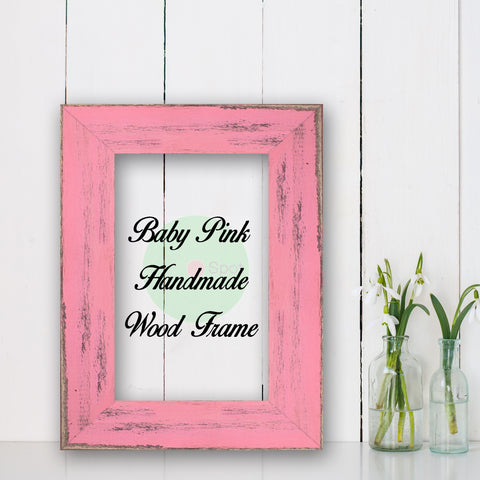 Baby Pink Shabby Chic Home Decor Custom Frame Great for Farmhouse Vintage Rustic Wood Picture Frame
