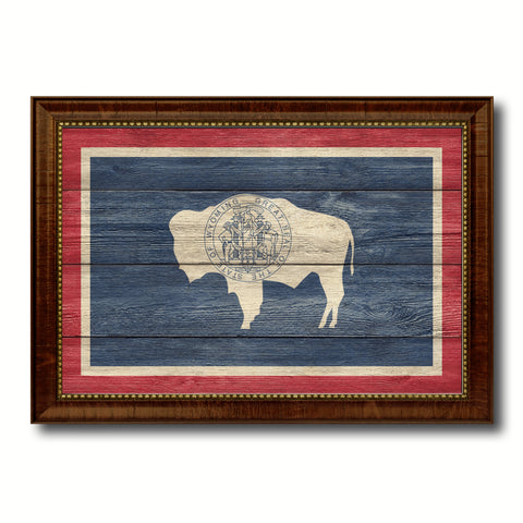 Wyoming State Flag Texture Canvas Print with Brown Picture Frame Gifts Home Decor Wall Art Collectible Decoration