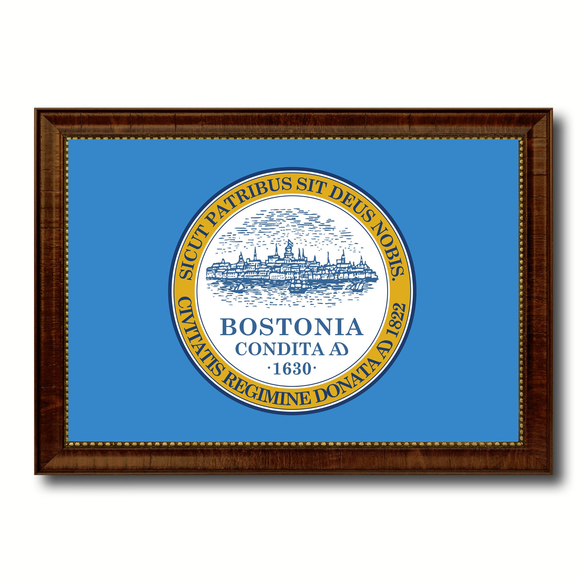 Boston City Massachusetts State Flag Canvas Print Brown Picture Frame