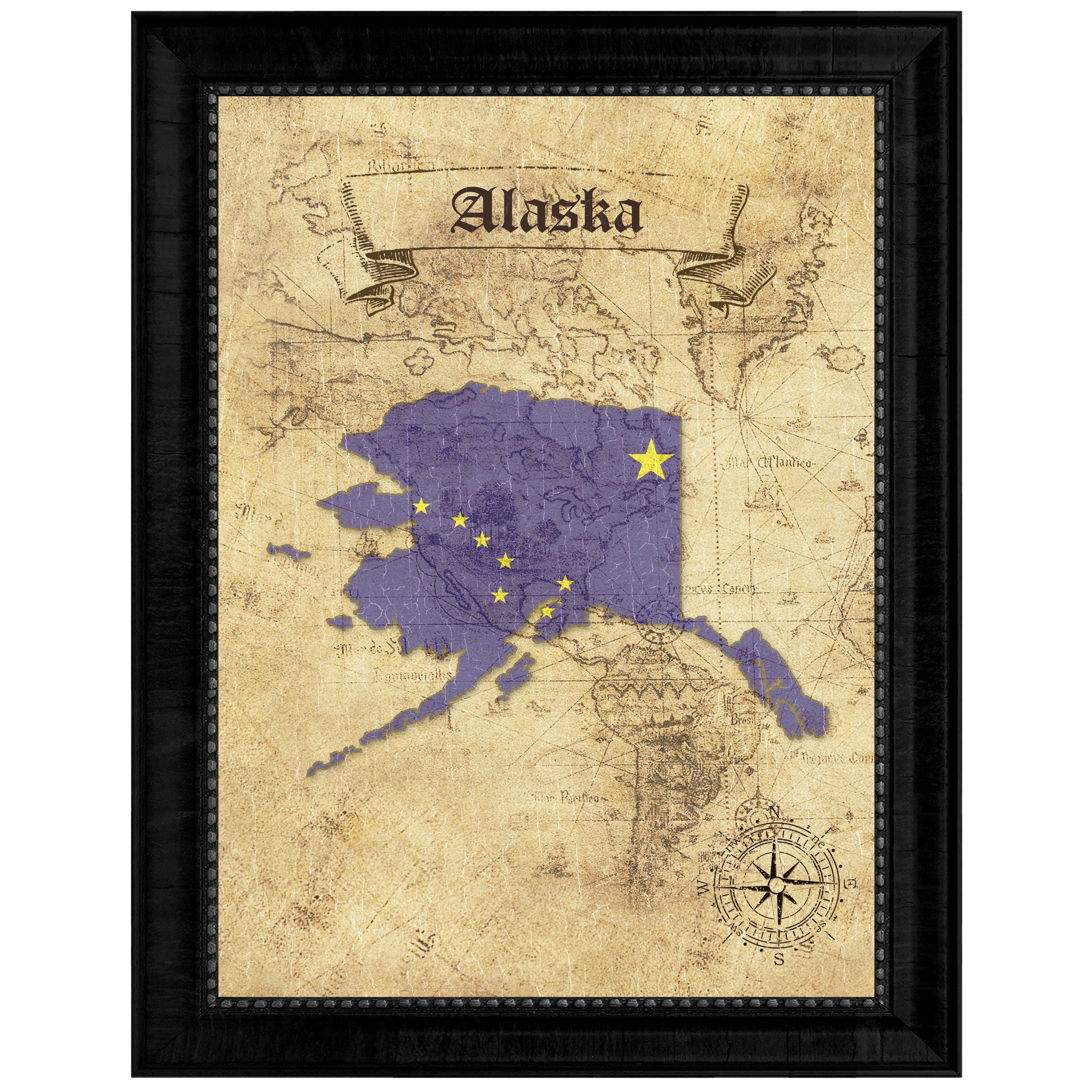 Alaska State Vintage Map Art Office Wall Home Decor Rustic Gift ...
