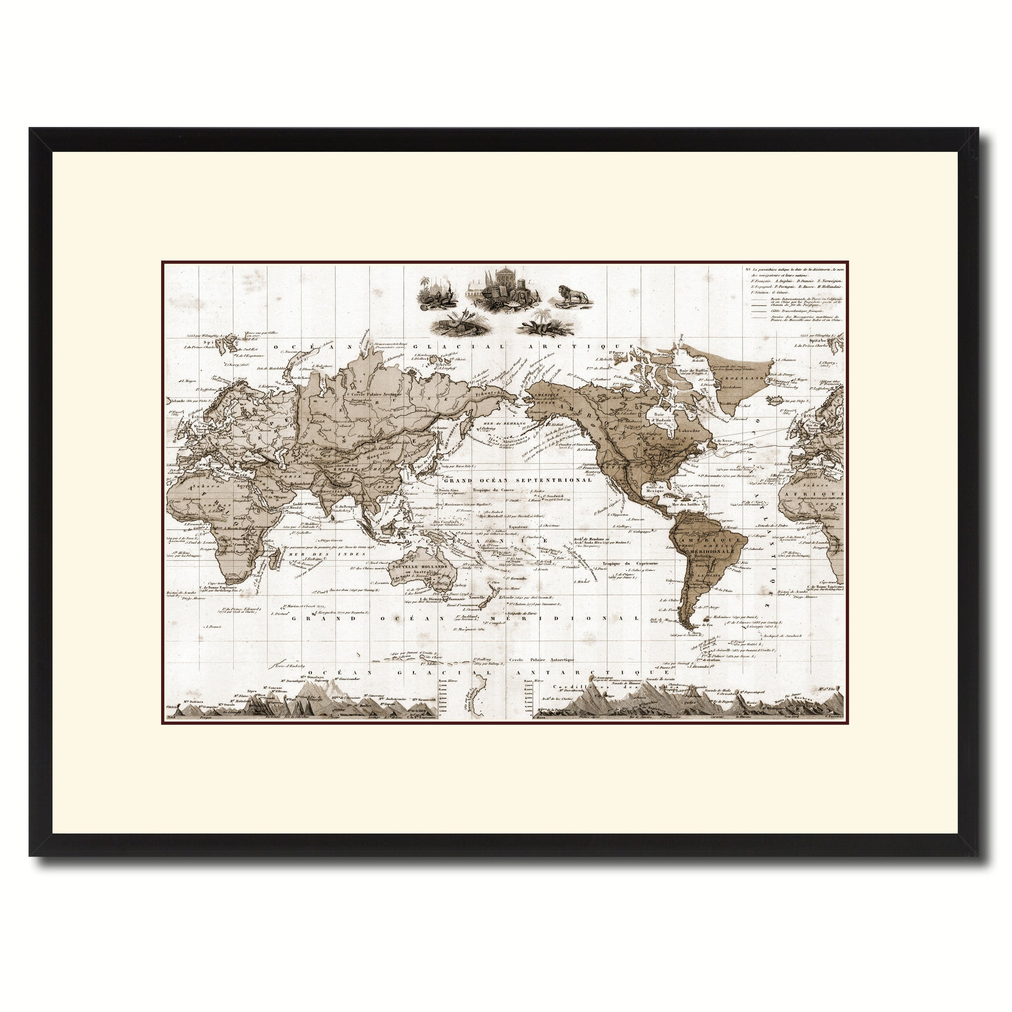 World Vintage Sepia Map Home Decor Wall Art Bedroom Liviingroom - Large sepia world map