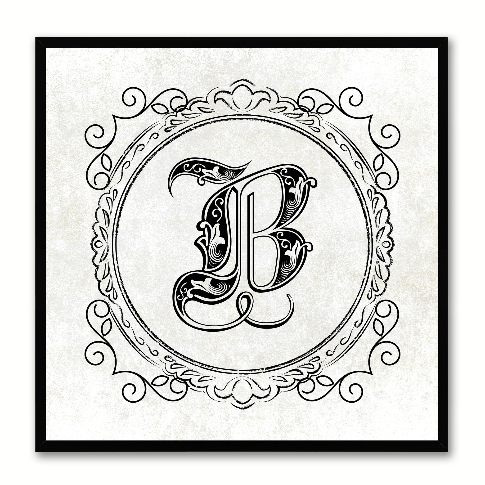 Alphabet B White Canvas Print Black Frame Kids Bedroom Wall Décor Home Art