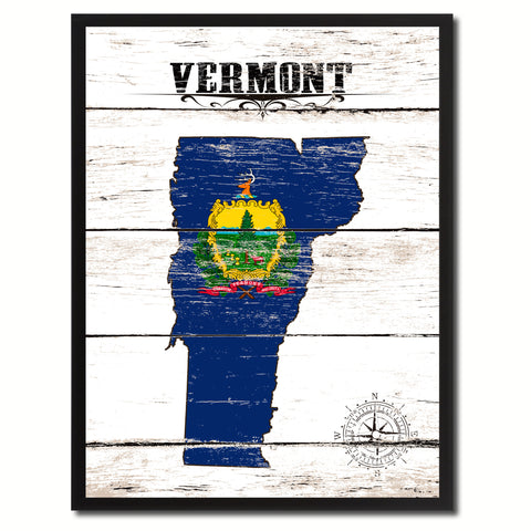 Vermont State Flag Gifts Home Decor Wall Art Canvas Print Picture Frames