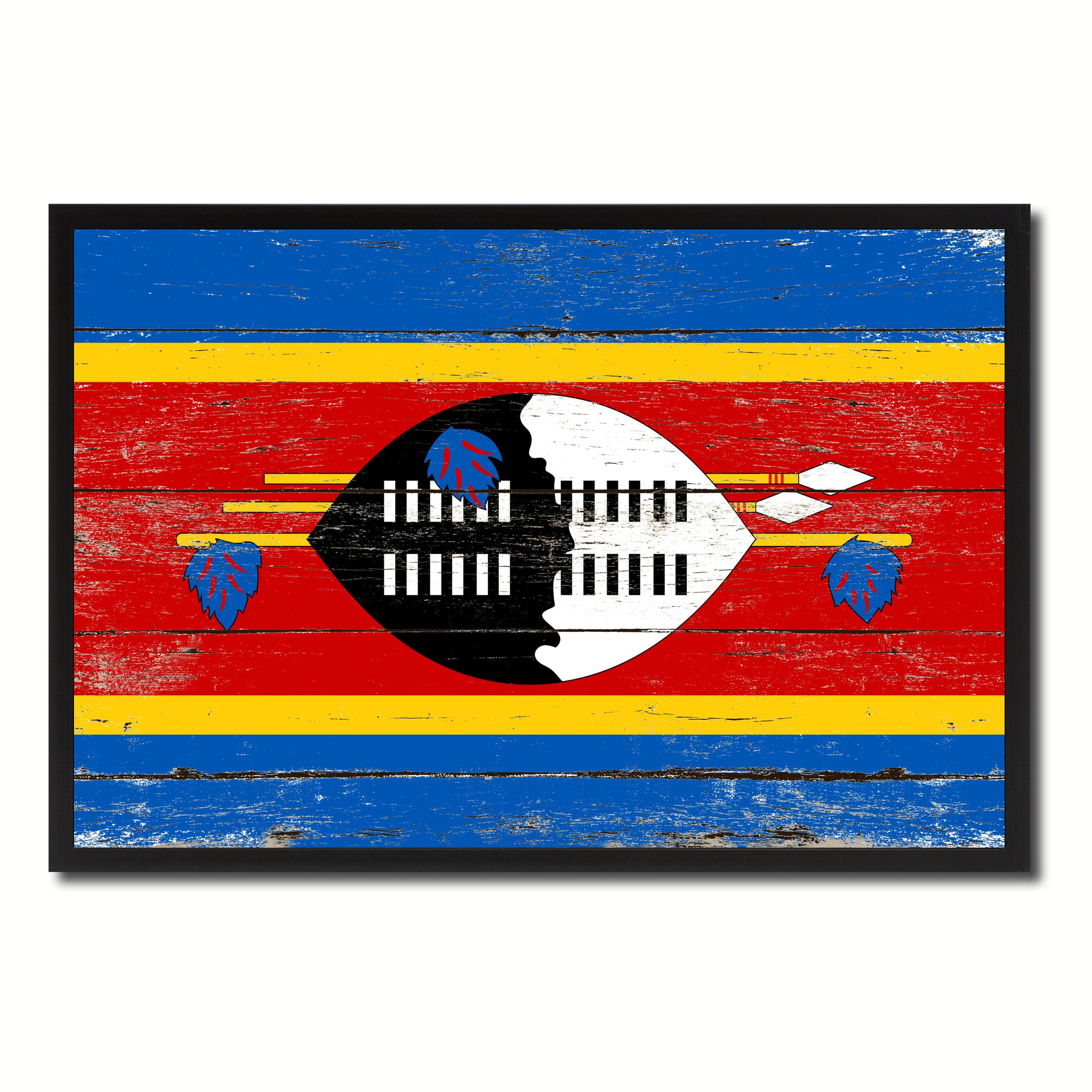 Swaziland Country National Flag Vintage Canvas Print with Picture Frame Home Decor Wall Art Collection Gift Ideas
