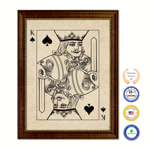 Jack Heart Poker Decks of Vintage Cards Print on Canvas Black Custom Framed