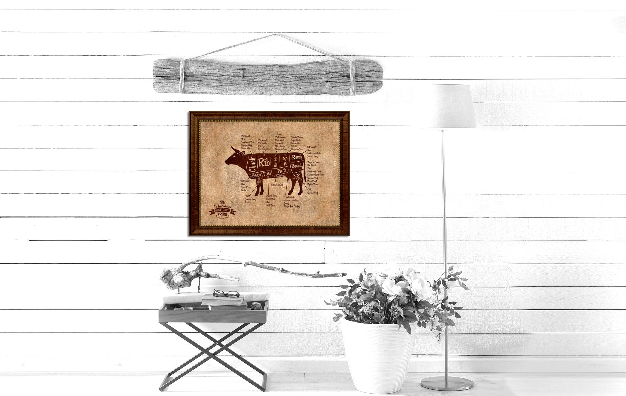 Beef Meat Cow Cuts Butchers Chart Canvas Print Picture Frame Home Decor Wall Art Gifts