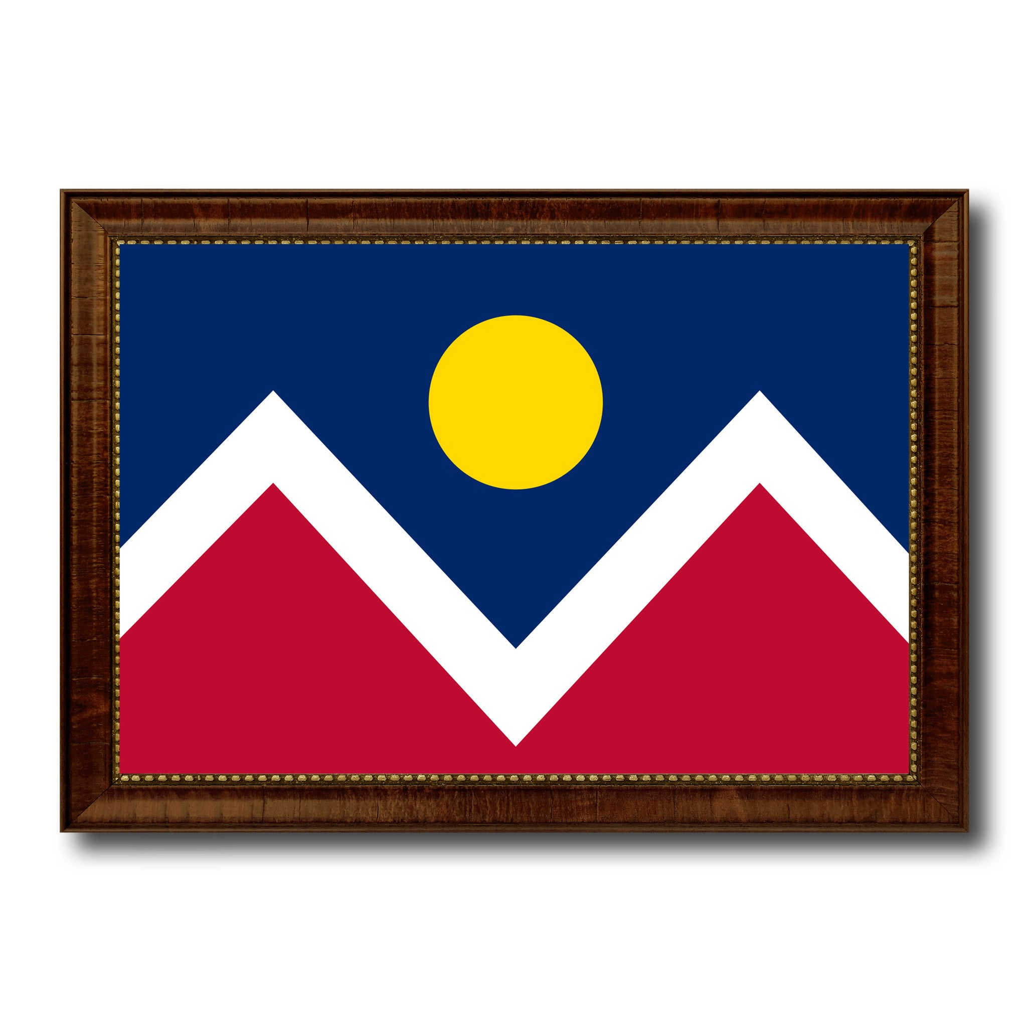Denver City Colorado State Flag Canvas Print Brown Picture Frame