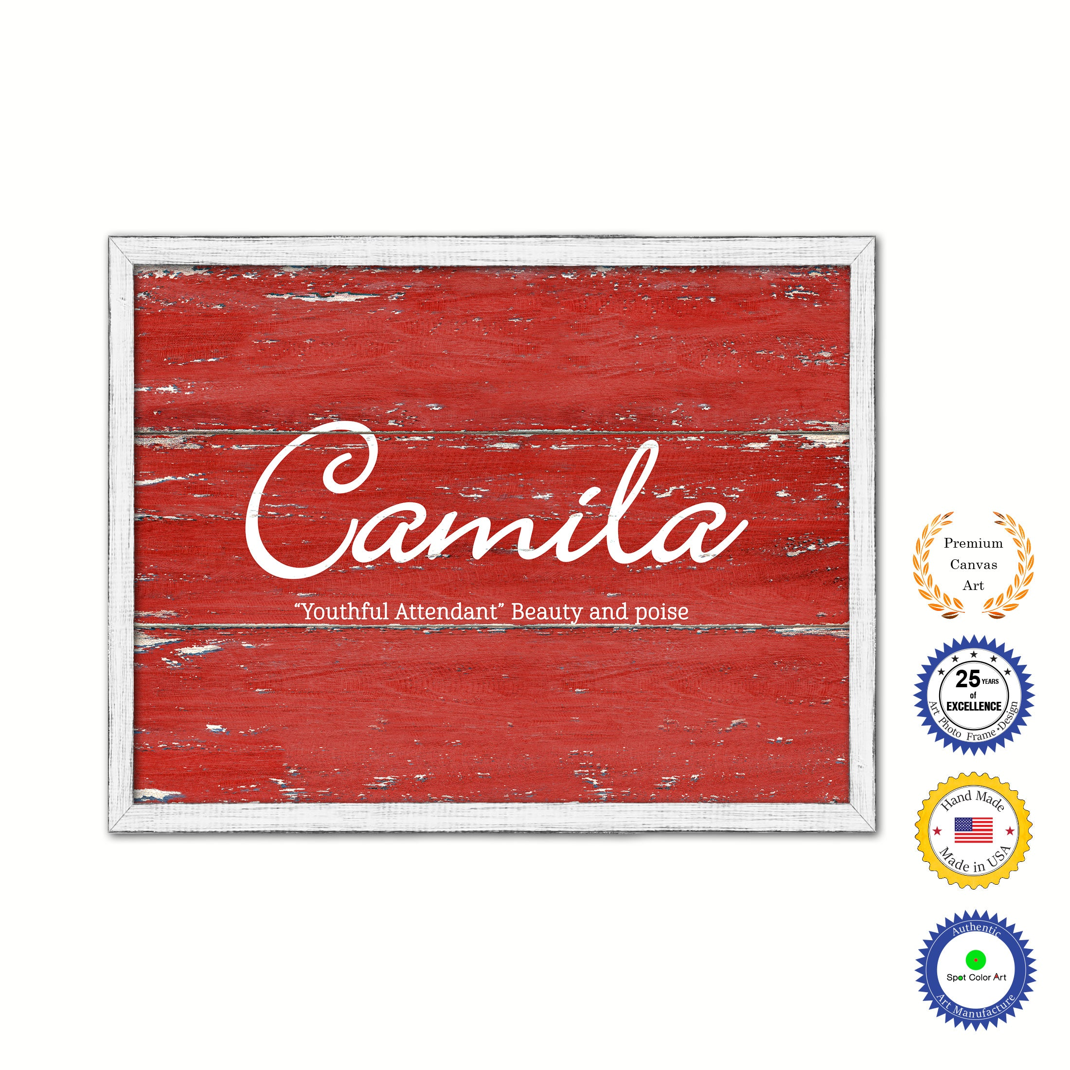 Marvelous Camila Name Plate White Wash Wood Frame Canvas Print Boutique Cottage Decor Shabby Chic Download Free Architecture Designs Intelgarnamadebymaigaardcom