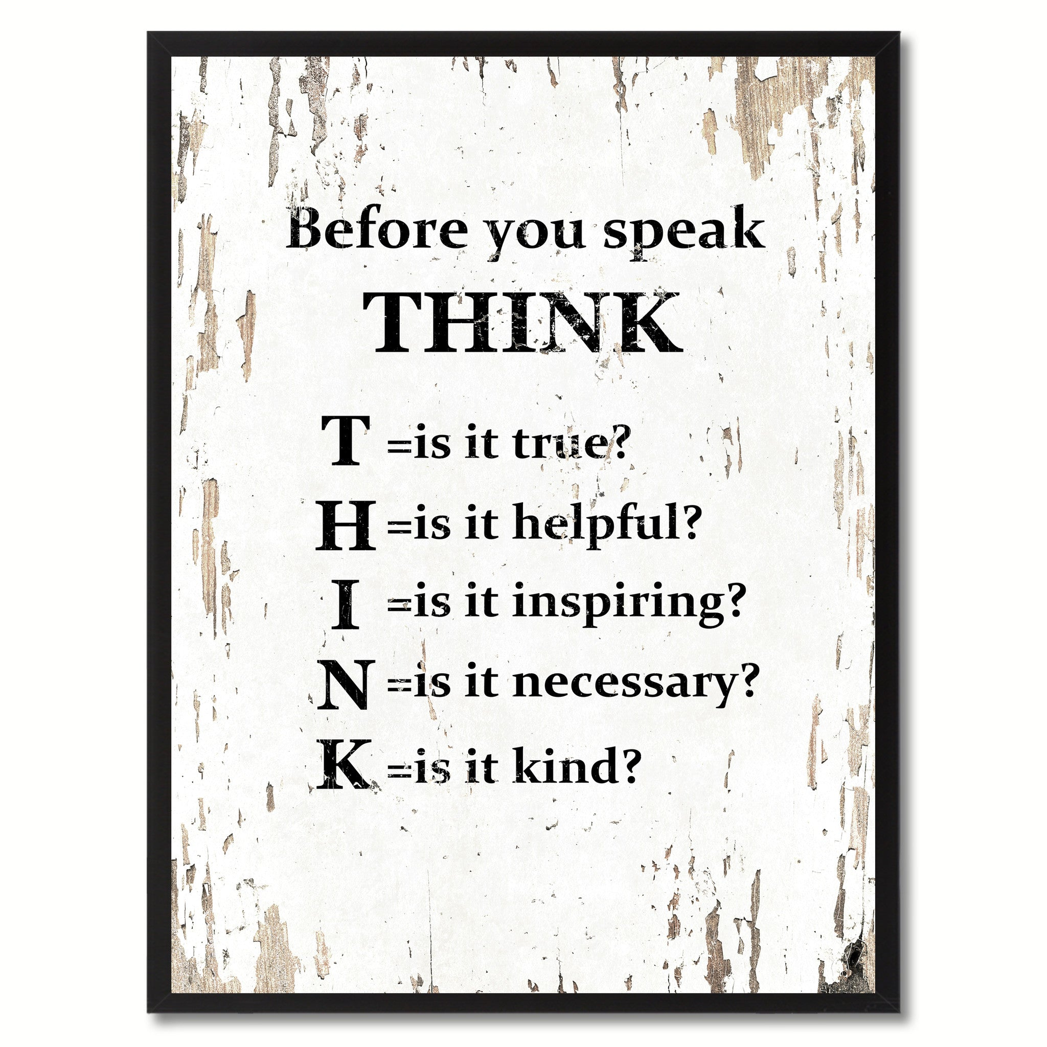 before you speak think inspirational saying motivation quote home decor wall art decoration gift