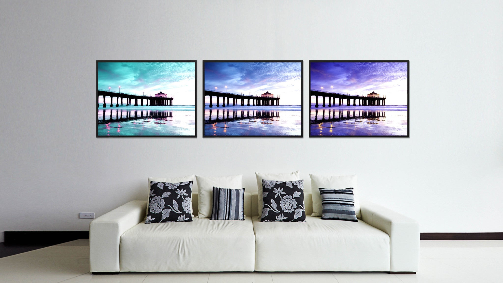 Manhattan Beach California Blue Landscape Photo Canvas Print Pictures Frames Home Décor Wall Art Gifts