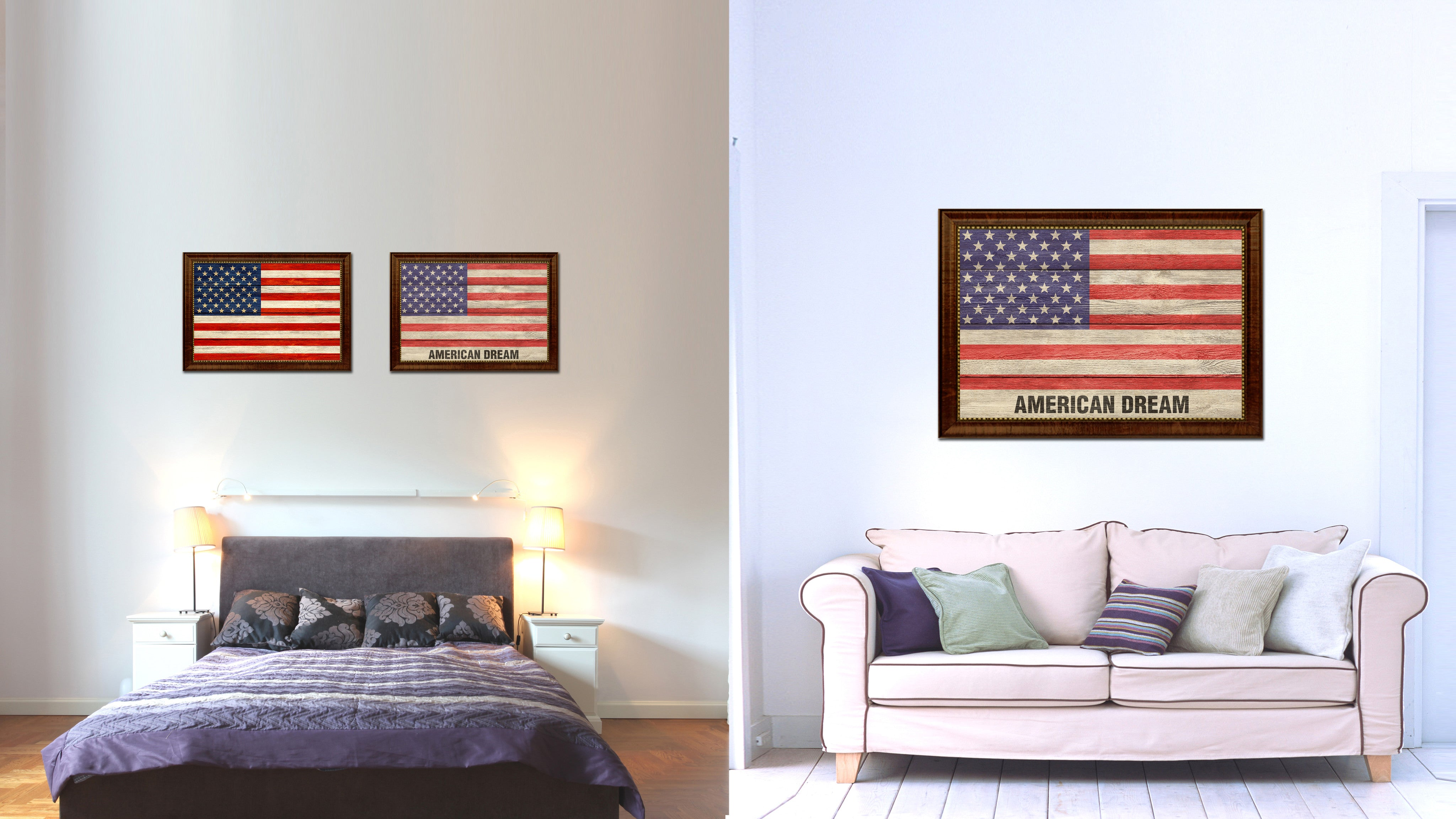 USA American Dream Flag Texture Canvas Print with Brown Picture Frame Home Decor Wall Art Gifts