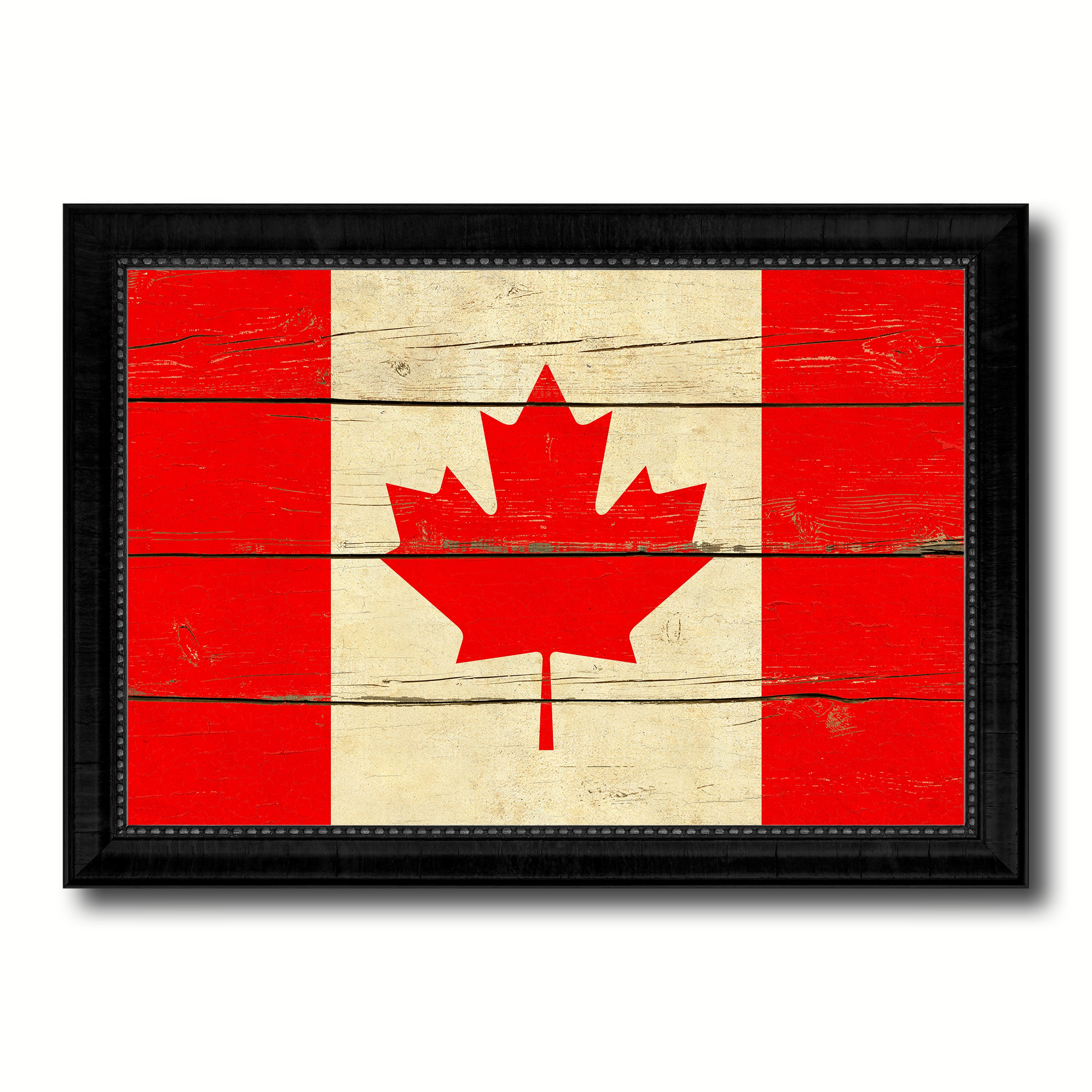 Canada Country Flag Vintage Canvas Print with Black Picture Frame Home Decor Gifts Wall Art Decoration Artwork