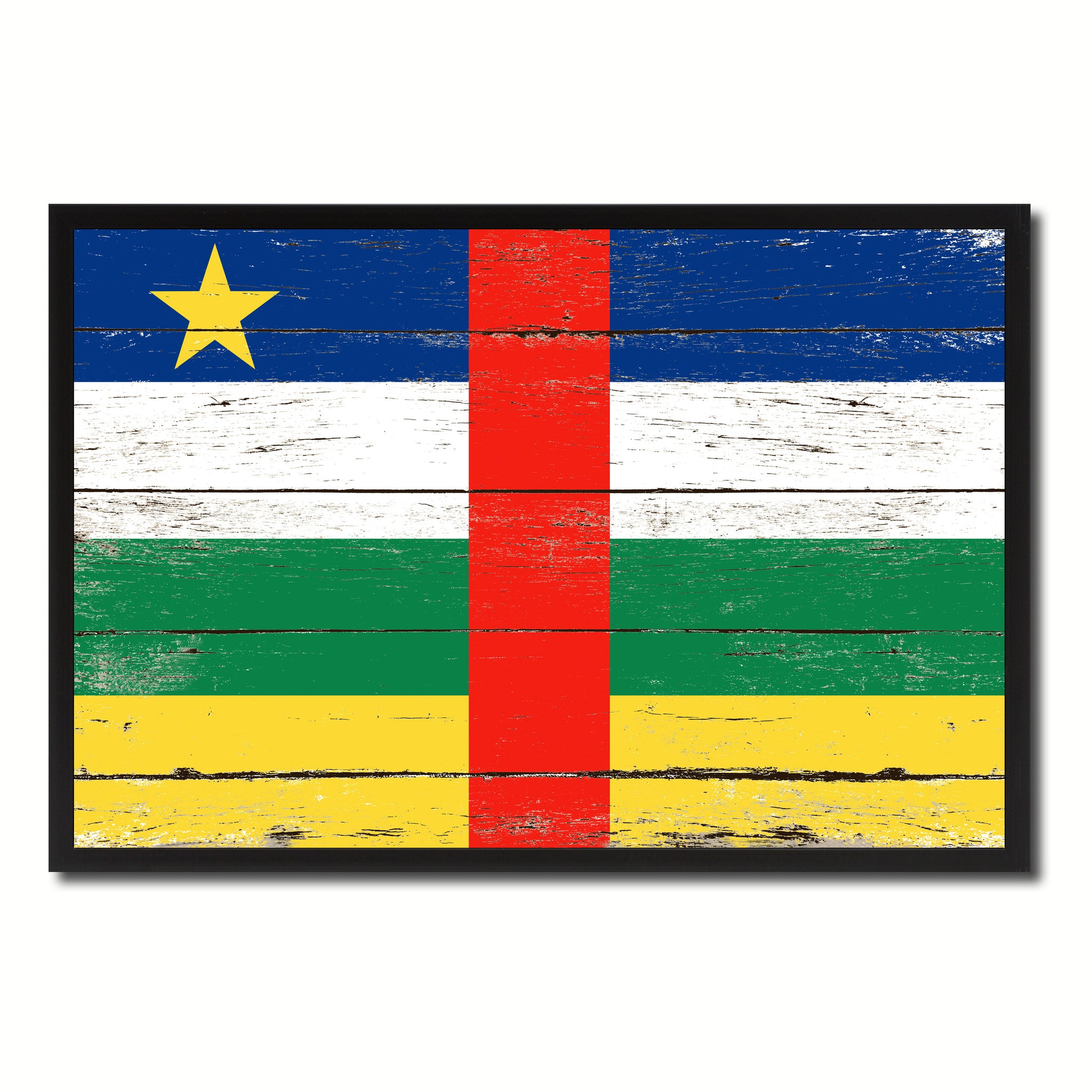 Central African Republic Country National Flag Vintage Canvas Print with Picture Frame Home Decor Wall Art Collection Gift Ideas