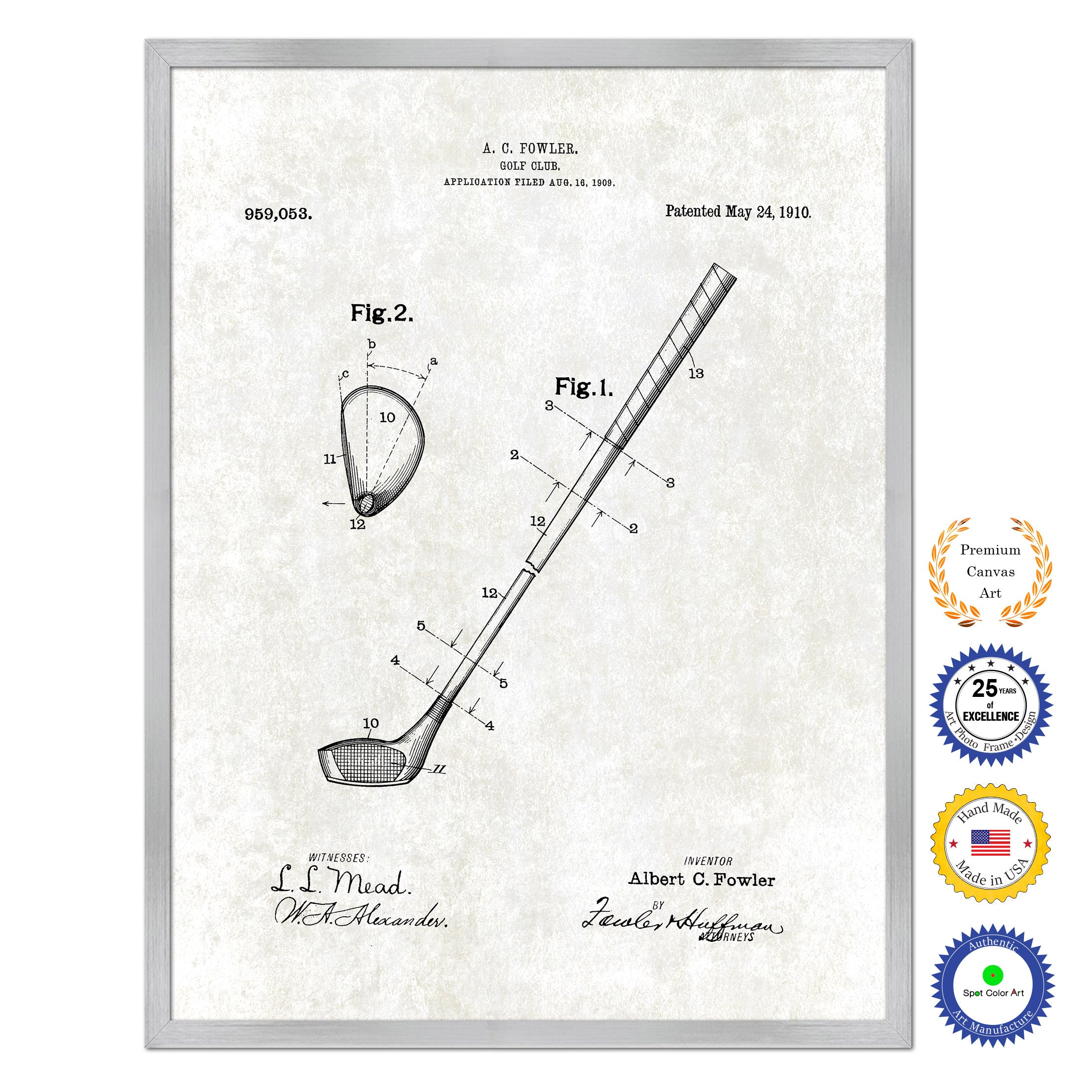 1910 Golf Club Old Patent Art Print on Canvas Custom Framed Vintage Home Decor Wall Decoration Great for Gifts