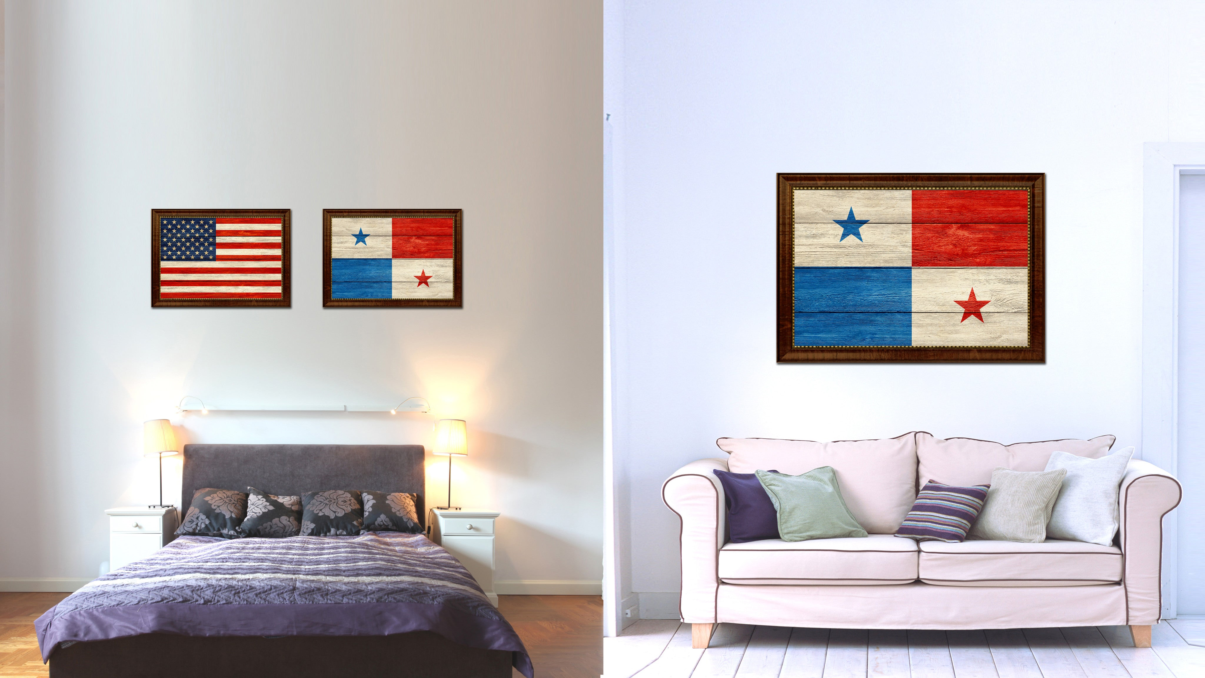 Panama Country Flag Texture Canvas Print with Brown Custom Picture Frame Home Decor Gift Ideas Wall Art Decoration