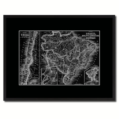 Afghanistan Persia Iraq Iran Vintage Monochrome Map Canvas Print, Gifts Picture Frames Home Decor Wall Art
