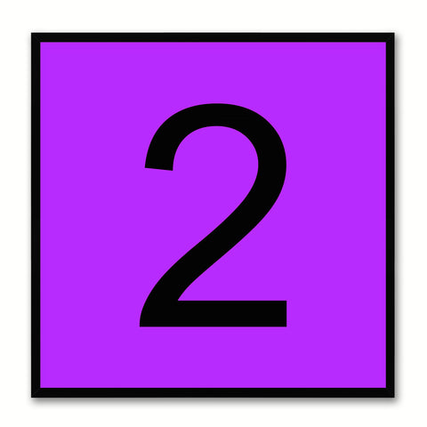Number 2 Purple Canvas Print Black Frame Kids Bedroom Wall Décor Home Art
