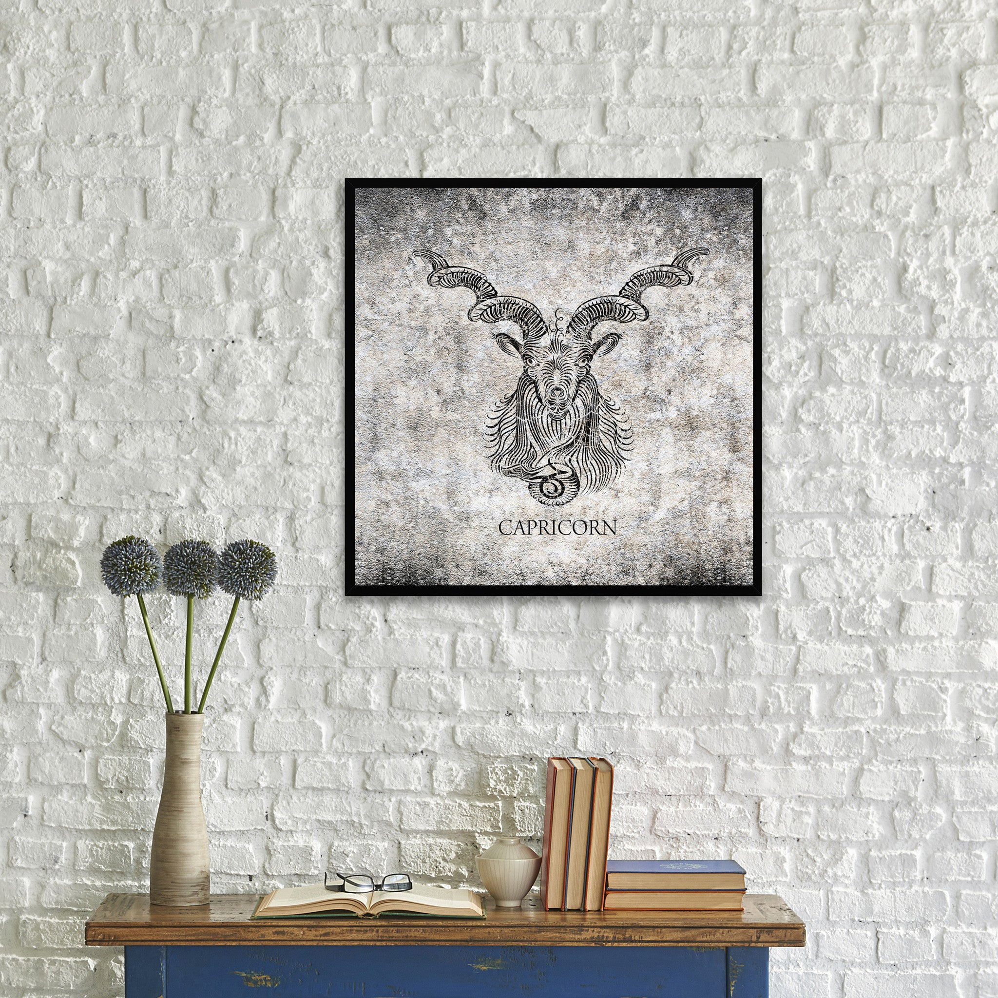 Capricorn Horoscope Black Canvas Print, Black Custom Frame
