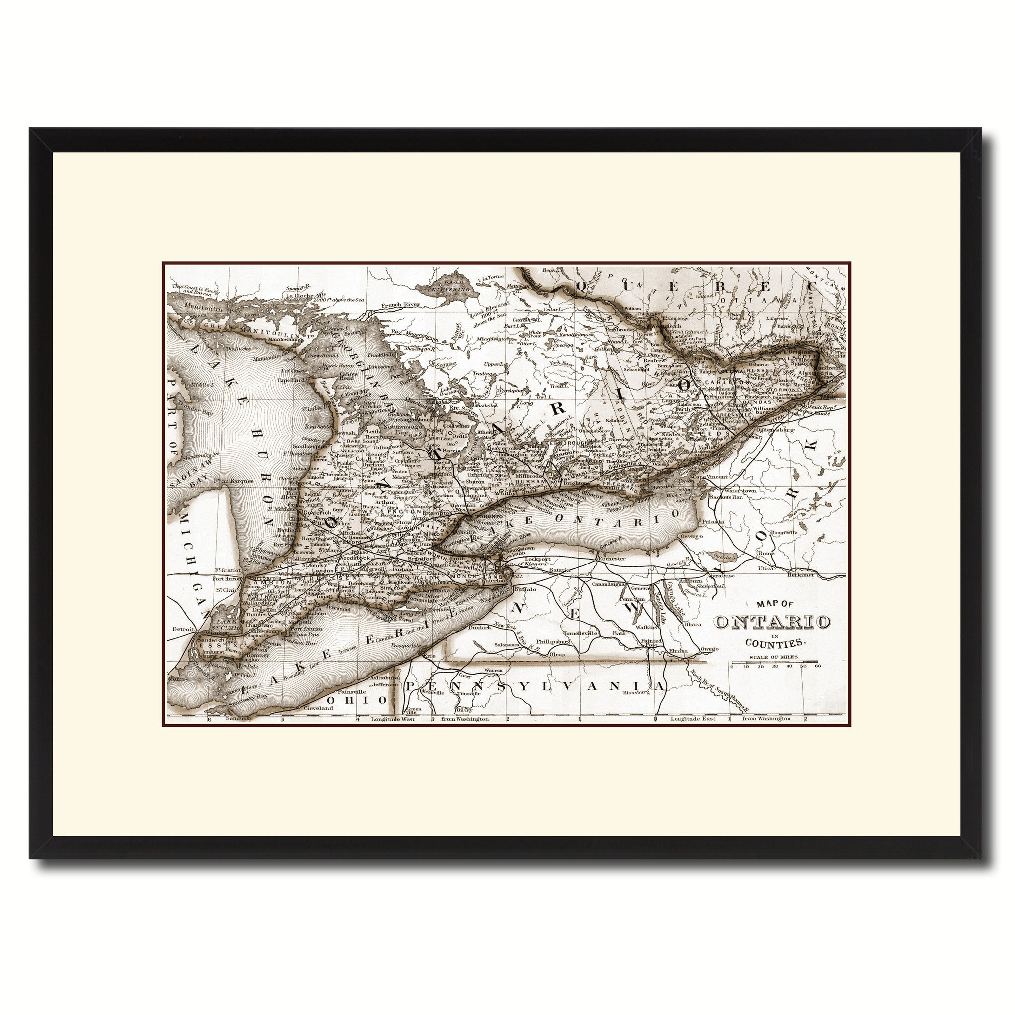 Ontario Canada Vintage Sepia Map Canvas Print Picture