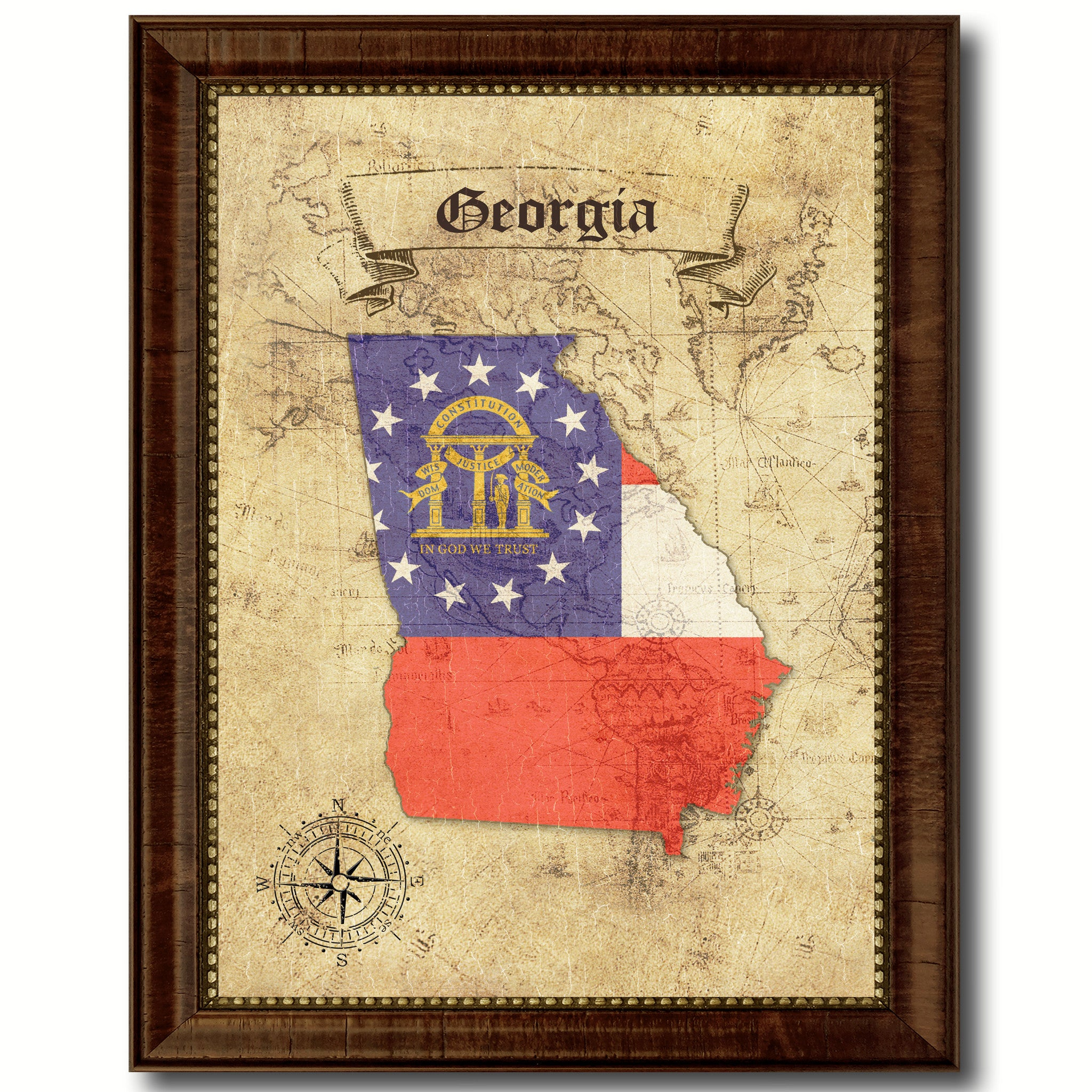 Georgia State Vintage Map Art Office Wall Home Decor Rustic Gift ...
