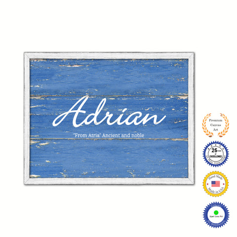 Adrian Name Plate White Wash Wood Frame Canvas Print Boutique Cottage Decor Shabby Chic