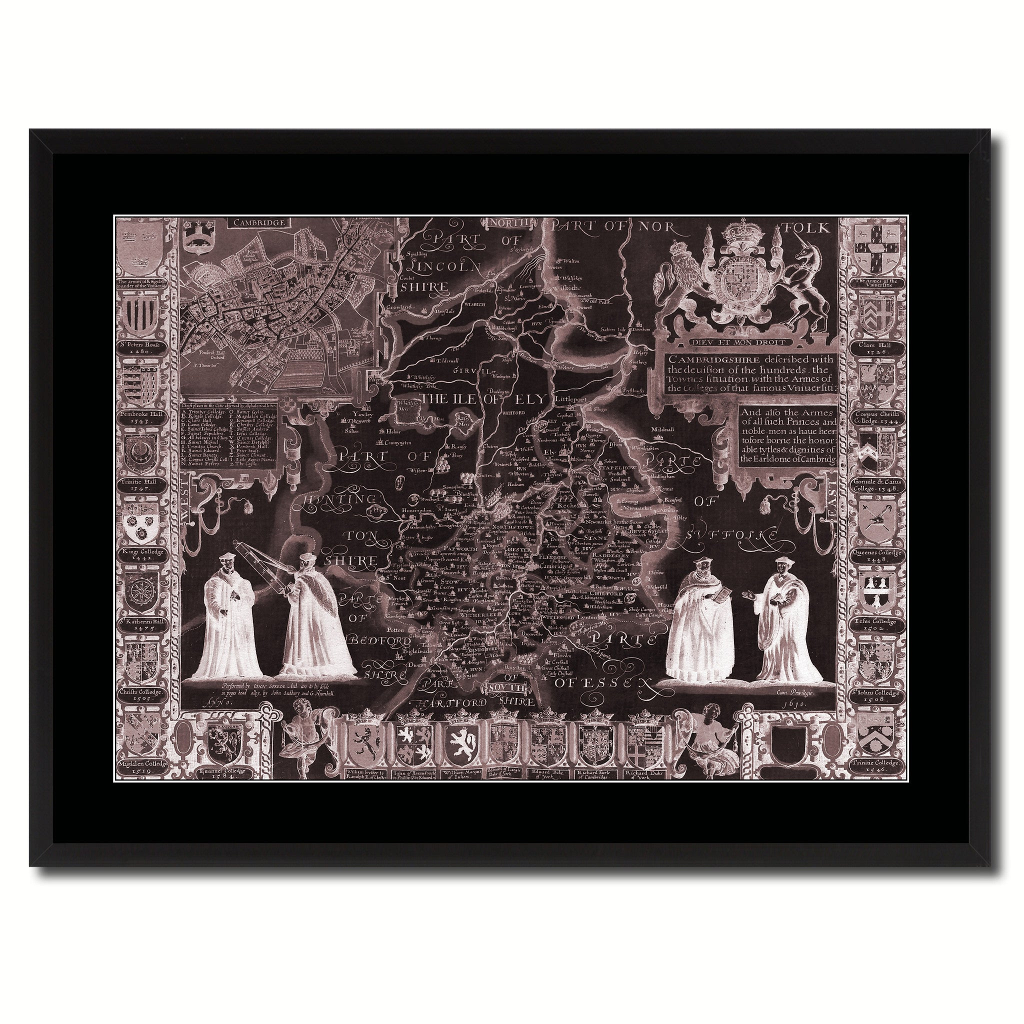 Cambridgeshire Vintage Vivid Sepia Map Canvas Print, Picture Frames Home Decor Wall Art Decoration Gifts