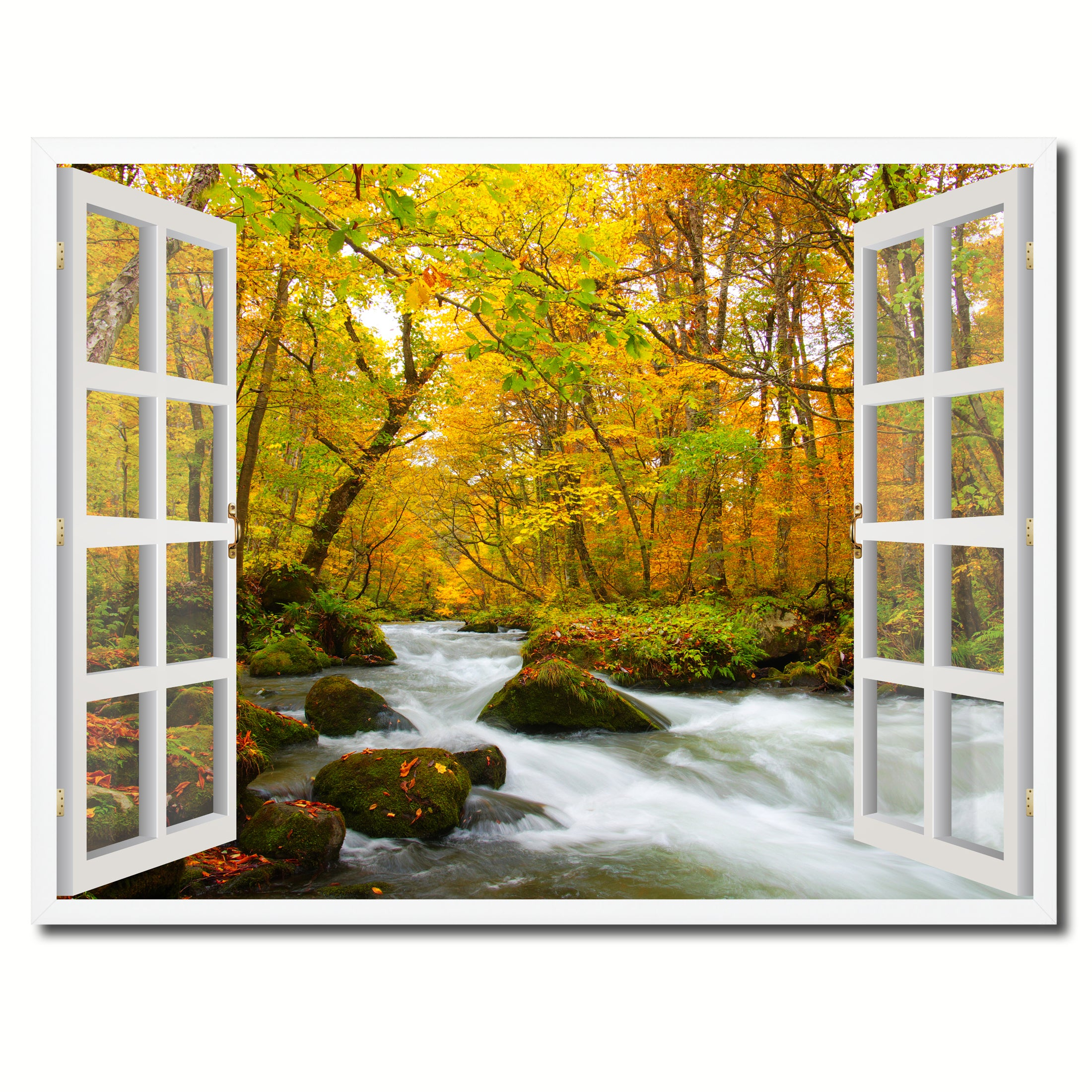 Autumn River Picture French Window Framed Canvas Print Home Decor Wall Art Collection
