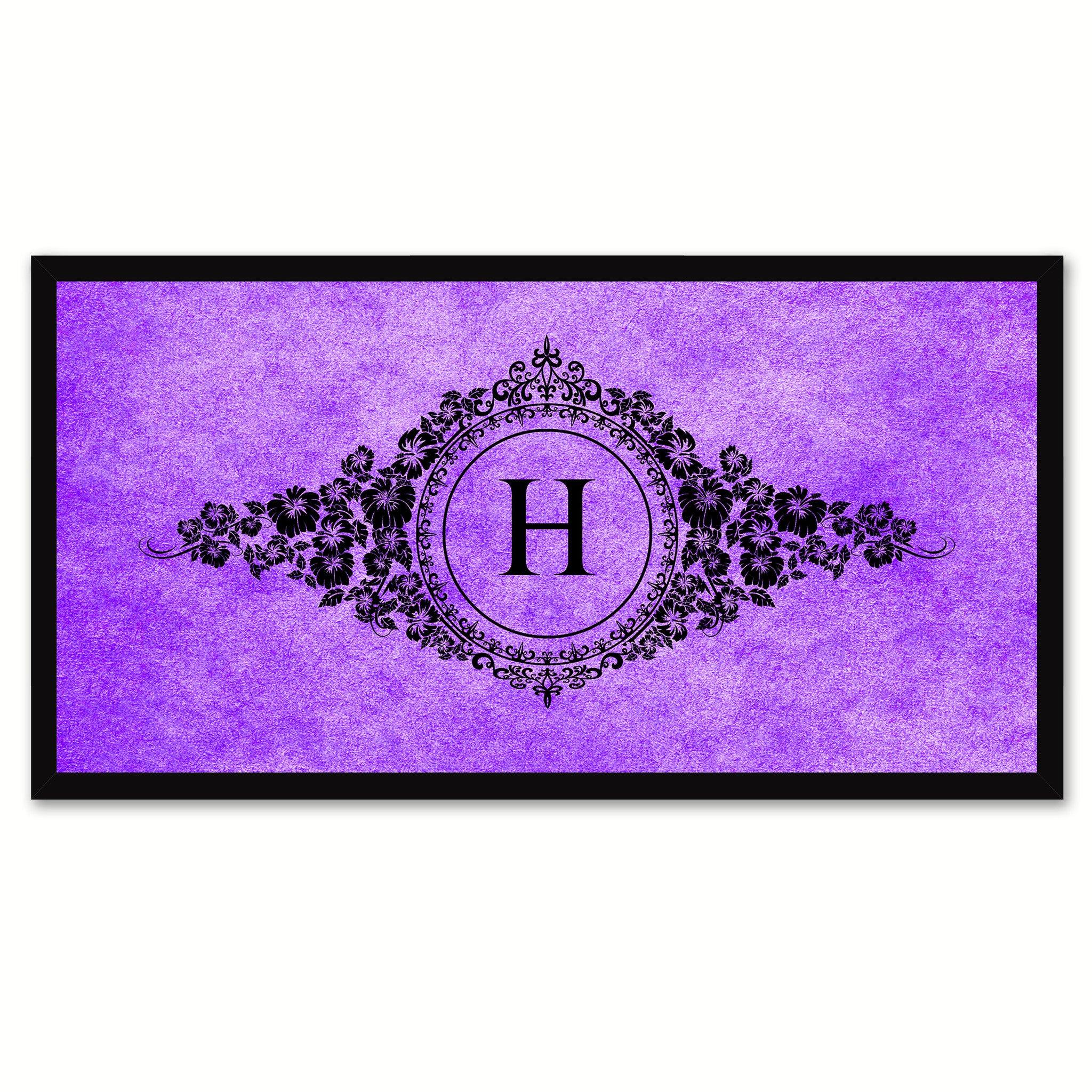 Alphabet Letter H Purple Canvas Print, Black Custom Frame