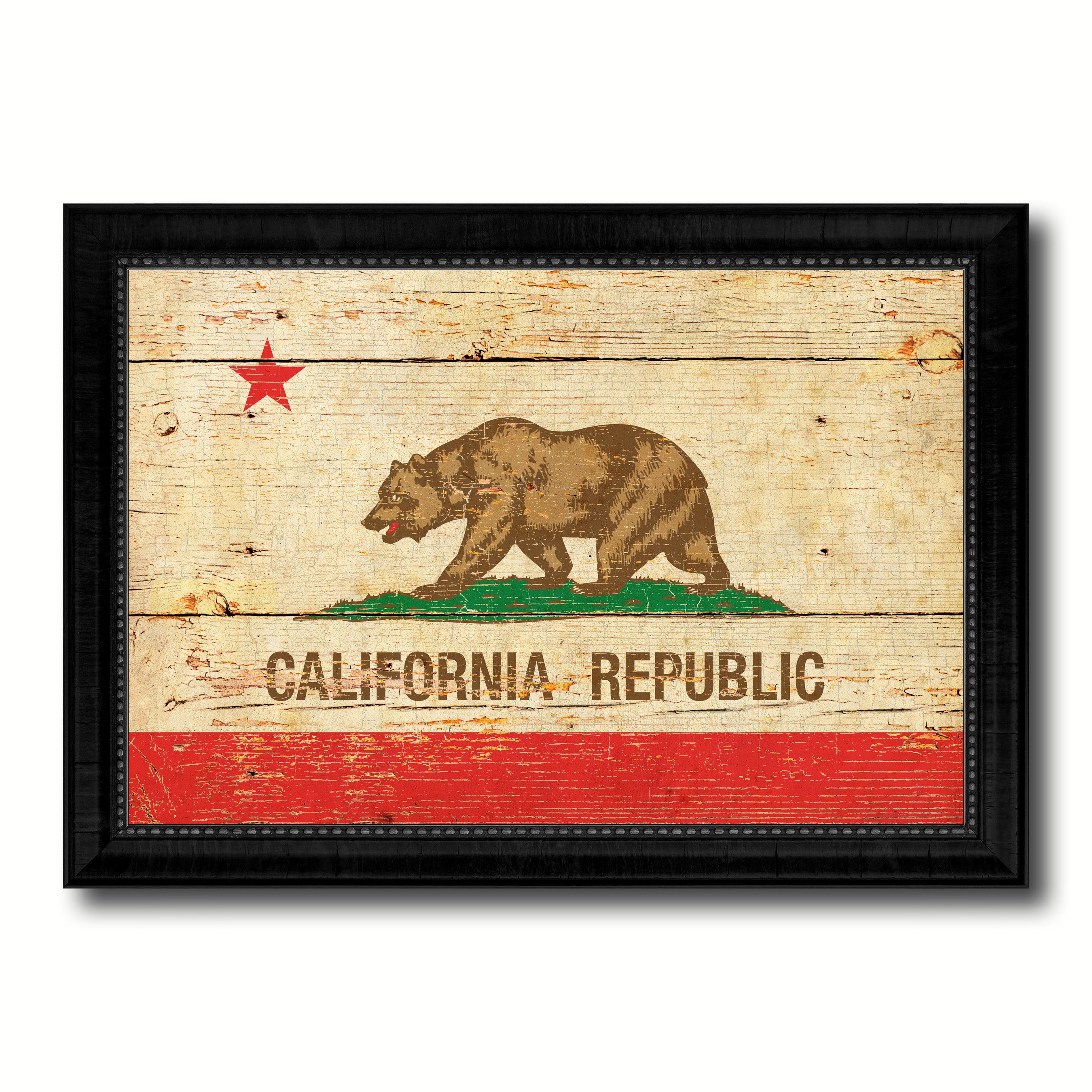 California State Vintage Flag Canvas Print with Black Picture Frame ...