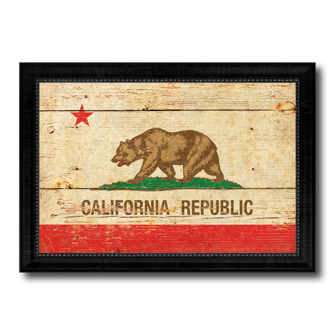 California State Vintage Flag Canvas Print with Black Picture Frame Home Decor Man Cave Wall Art Collectible Decoration Artwork Gifts