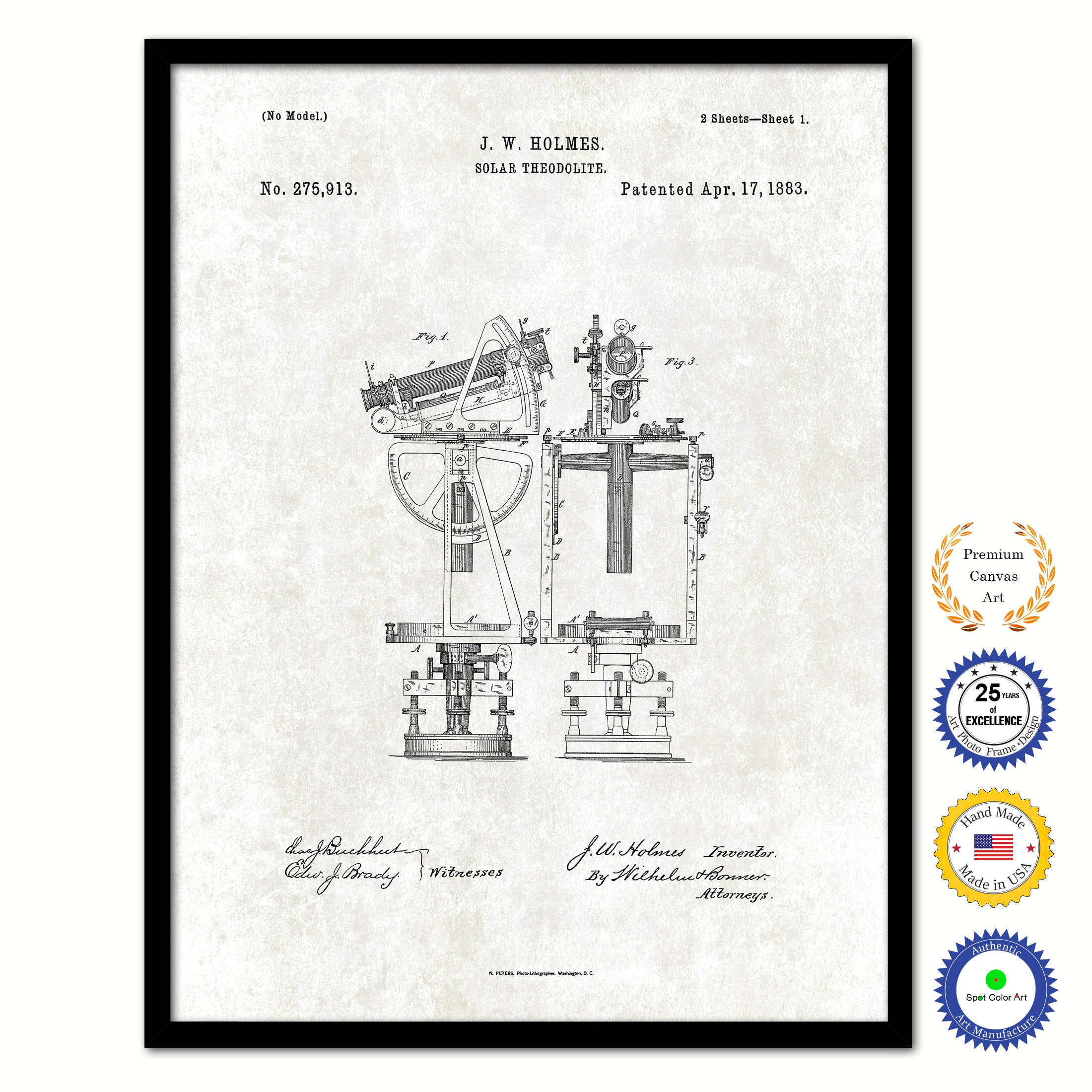 1883 Solar Theodolite Old Patent Art Print on Canvas Custom Framed Vintage Home Decor Wall Decoration Great for Gifts