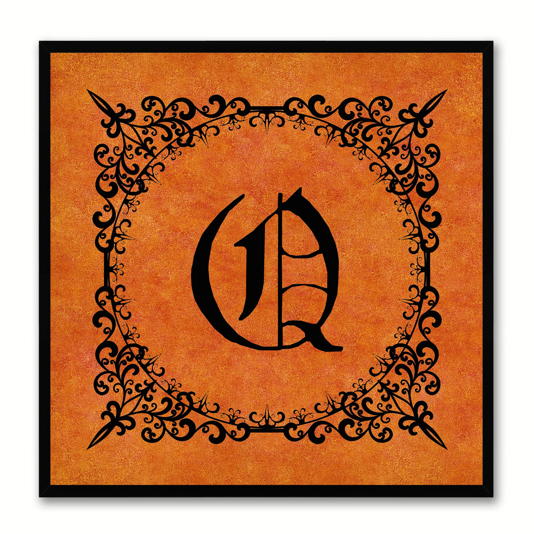 Alphabet Q Orange Canvas Print Black Frame Kids Bedroom Wall Décor Home Art
