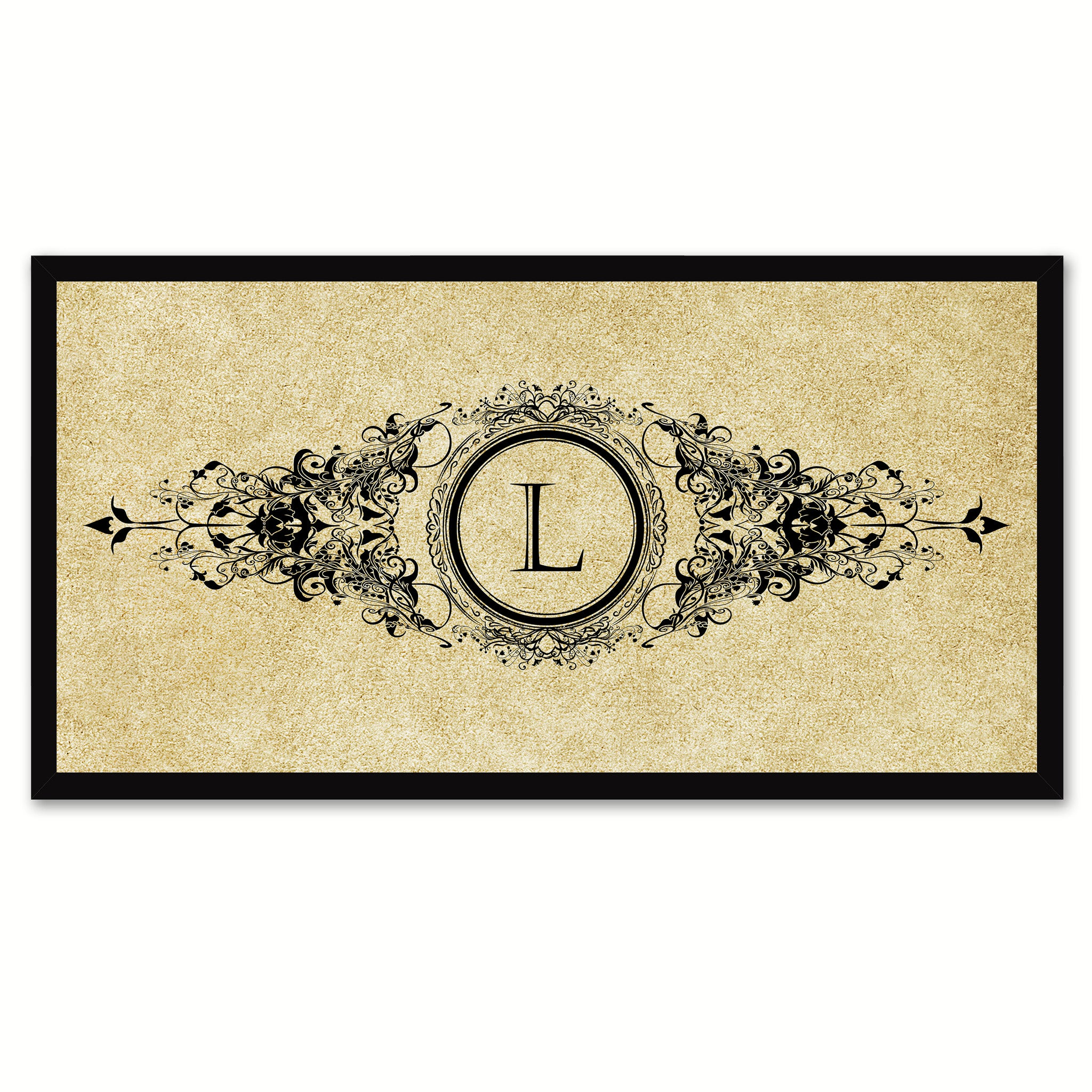 Alphabet Letter L Brown Canvas Print, Black Custom Frame