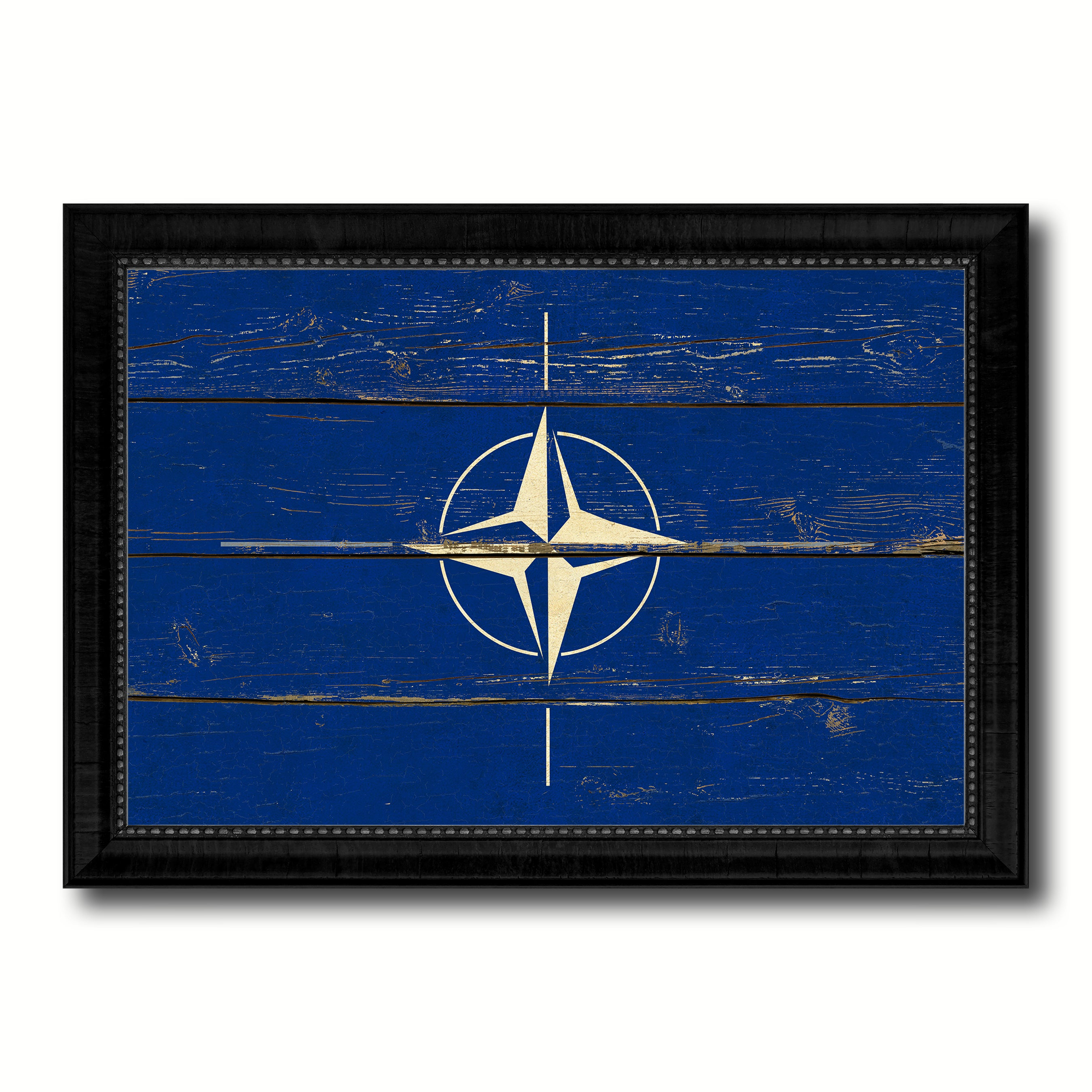 Nato Country Flag Vintage Canvas Print with Black Picture Frame Home Decor Gifts Wall Art Decoration Artwork