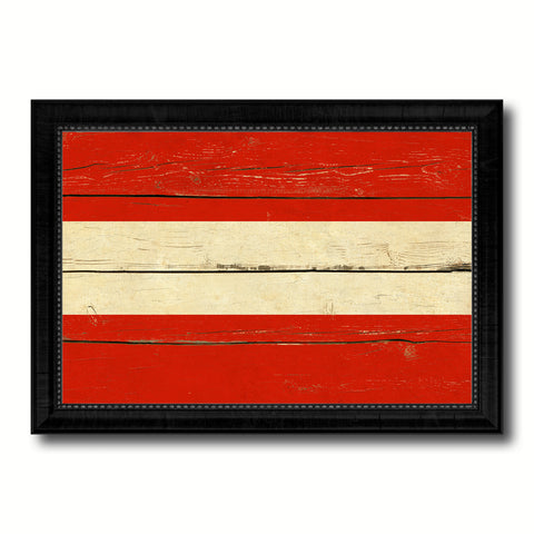 Austria Country Flag Vintage Canvas Print with Black Picture Frame Home Decor Gifts Wall Art Decoration Artwork