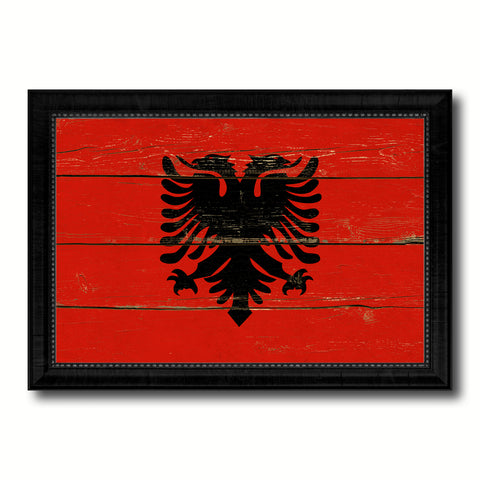 Albania Country Flag Vintage Canvas Print with Black Picture Frame Home Decor Gifts Wall Art Decoration Artwork