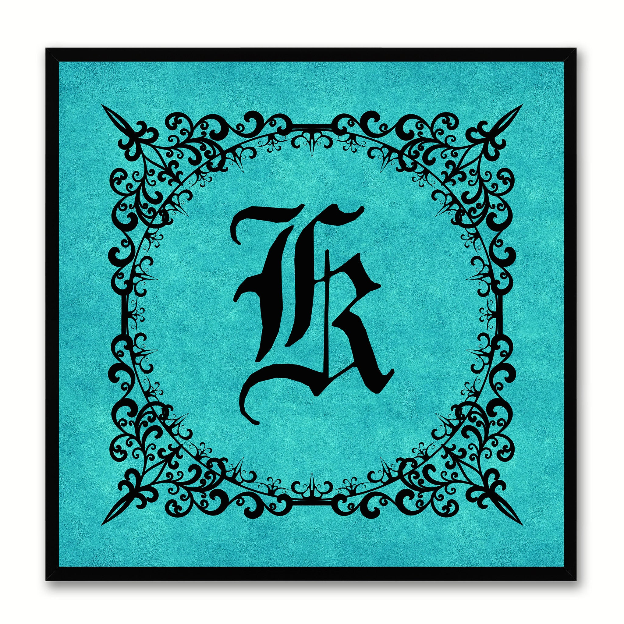 Alphabet K Aqua Canvas Print Black Frame Kids Bedroom Wall Décor Home Art