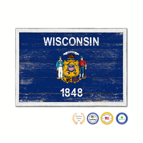 Wisconsin State Flag Shabby Chic Gifts Home Decor Wall Art Canvas Print, White Wash Wood Frame