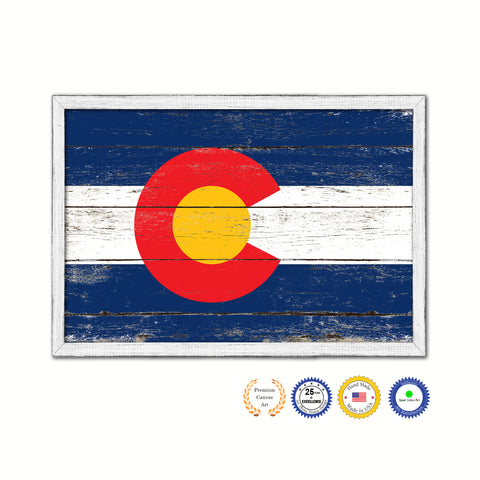 Colorado State Flag Vintage Canvas Print with Black Picture Frame Home DecorWall Art Collectible Decoration Artwork Gifts