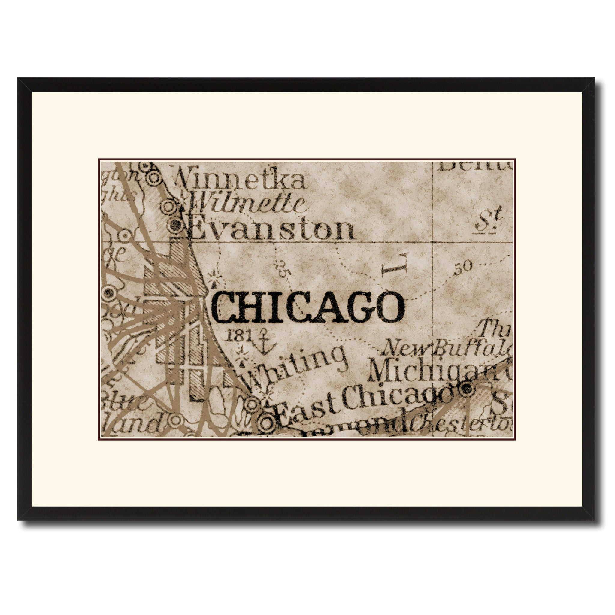 Chicago Illinois Vintage Sepia Map Home Decor Wall Art Bedroom ...